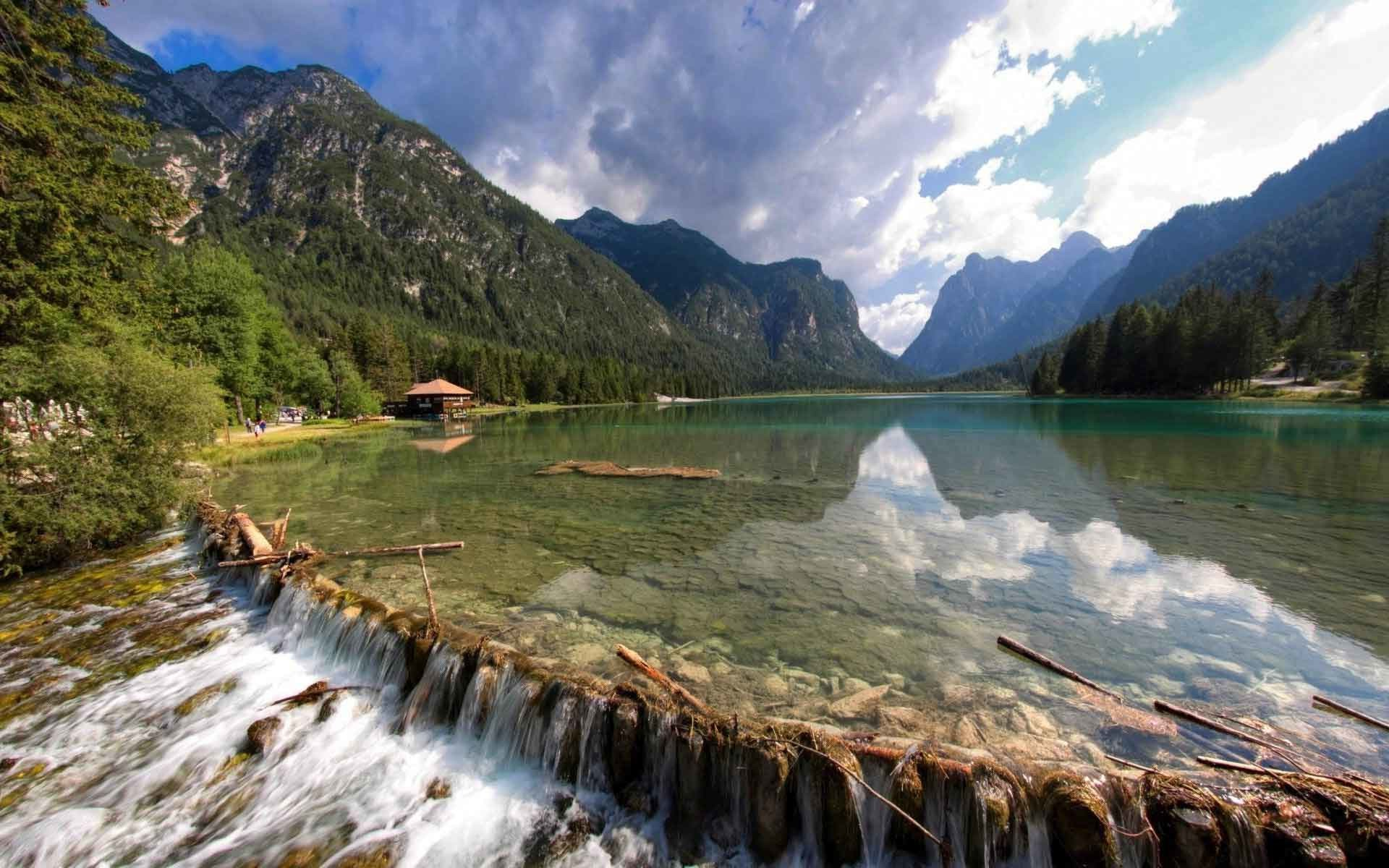 1920x1200 Lakes Lake House Stones Landscape Wood Mountains Cool Nature Desktop  Backgrounds