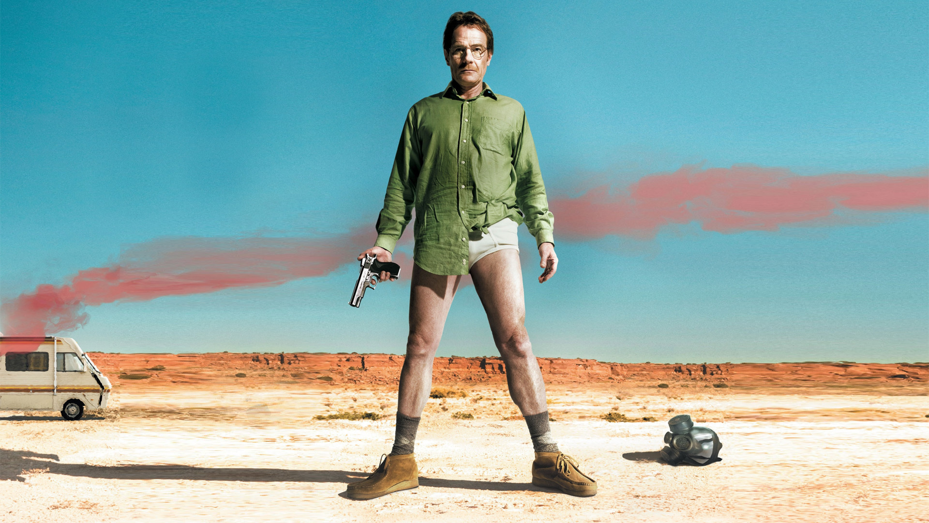 3840x2160 Preview wallpaper breaking bad, series, walter, shirt, pants, gun, situation