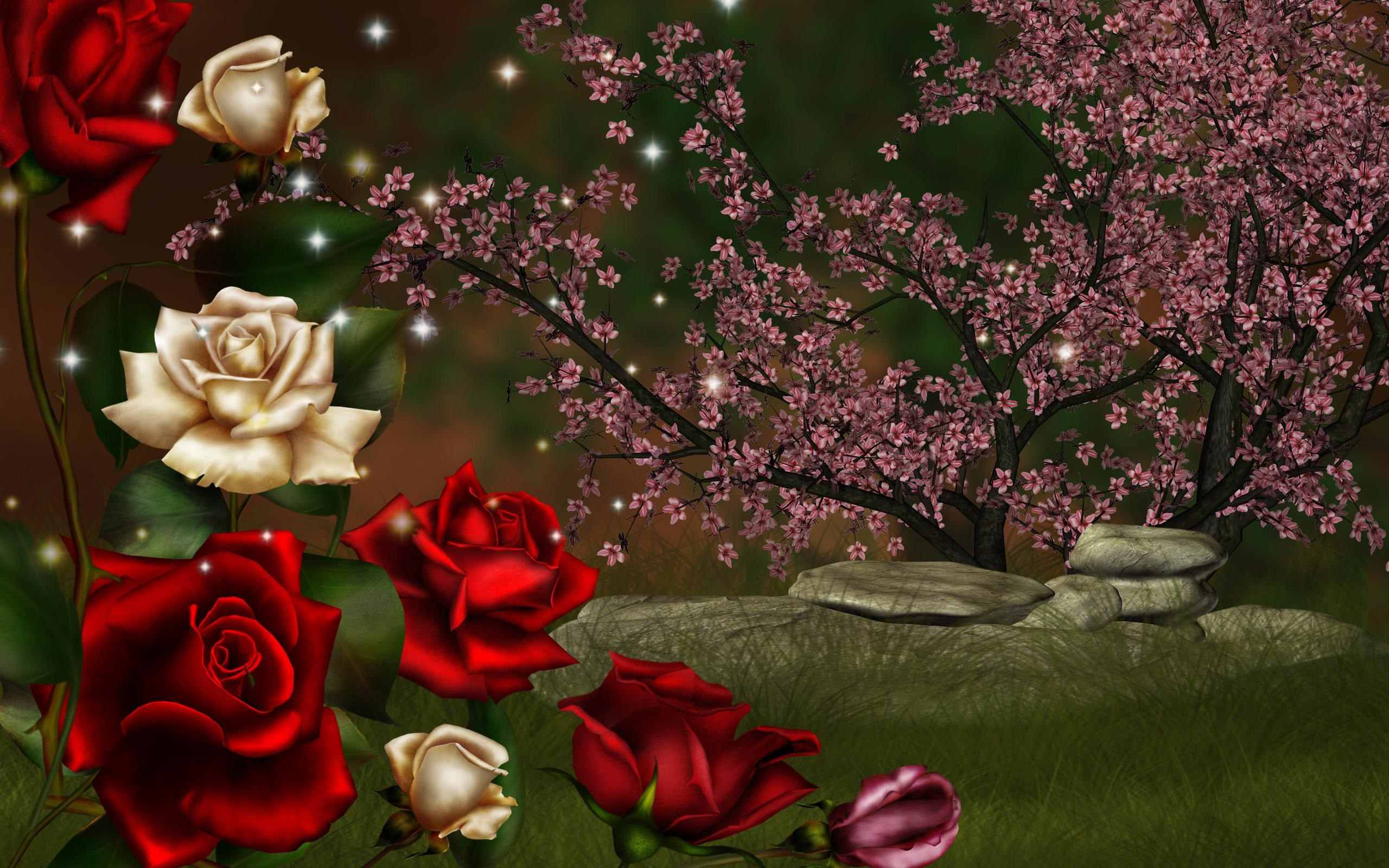 2560x1600 nice nature roses high definition 3d wallpaper