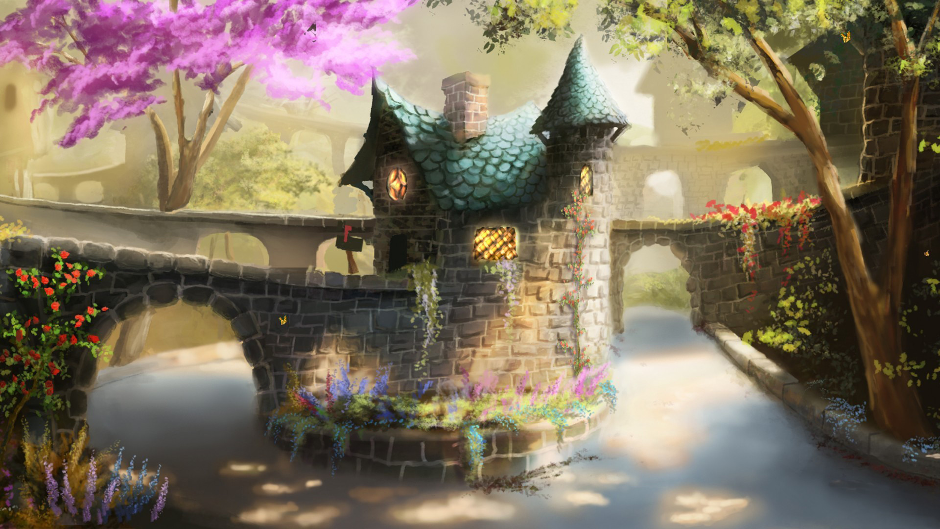 1920x1080 Art painting painting bridge house tree flowers river .