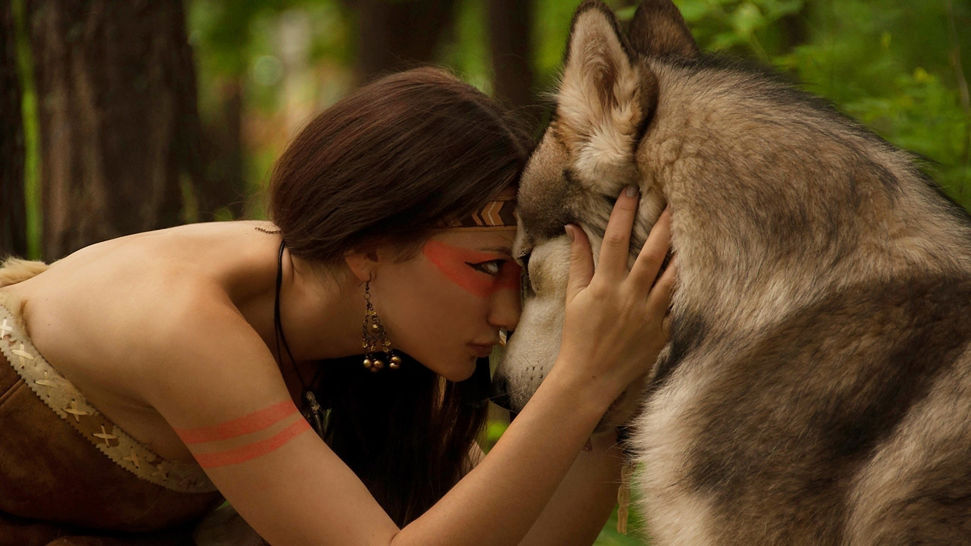 1920x1080 nature, Women, Wolf, Brunette, Indian, Forest Wallpapers HD / Desktop and  Mobile Backgrounds