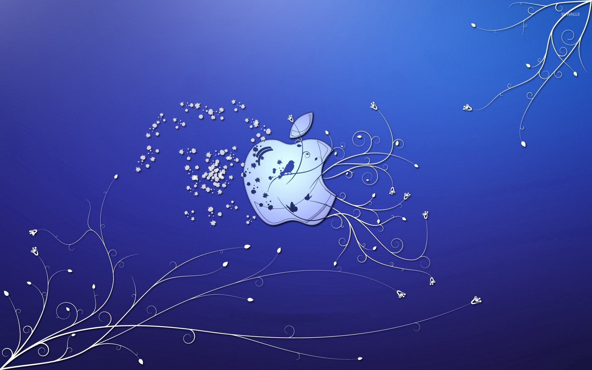 1920x1200 Bird and butterflies in the Apple wallpaper  jpg