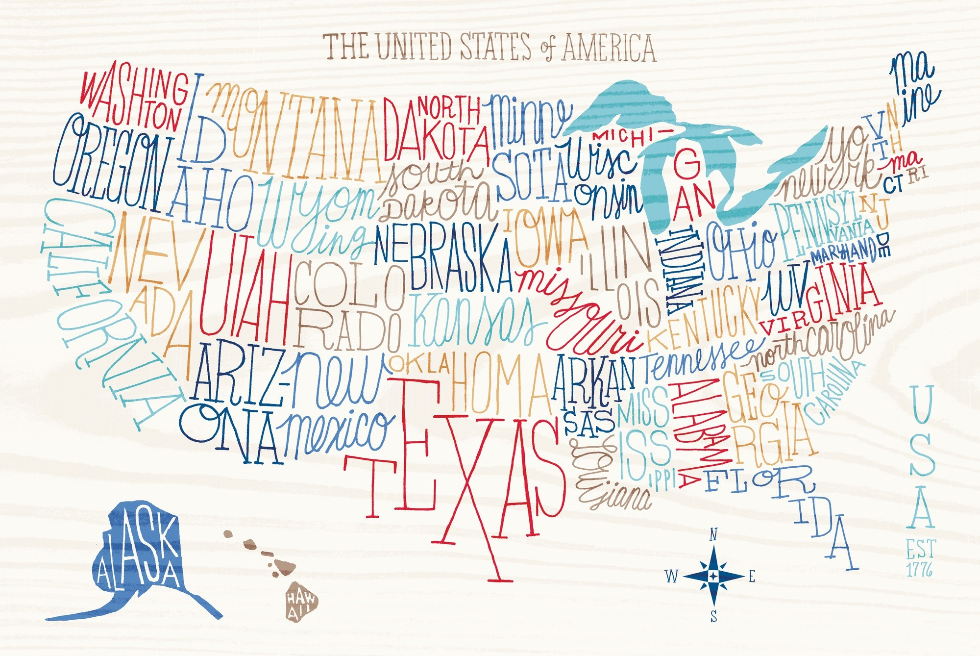 2000x1338 Hand Lettered US Map Wallpaper Mural