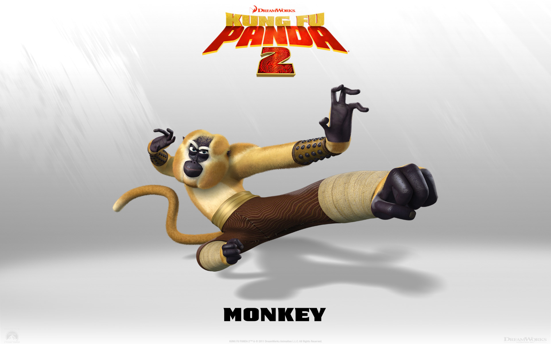 1920x1200 Monkey from Kung Fu Panda 2 Dreamworks CG animated movie wallpaper