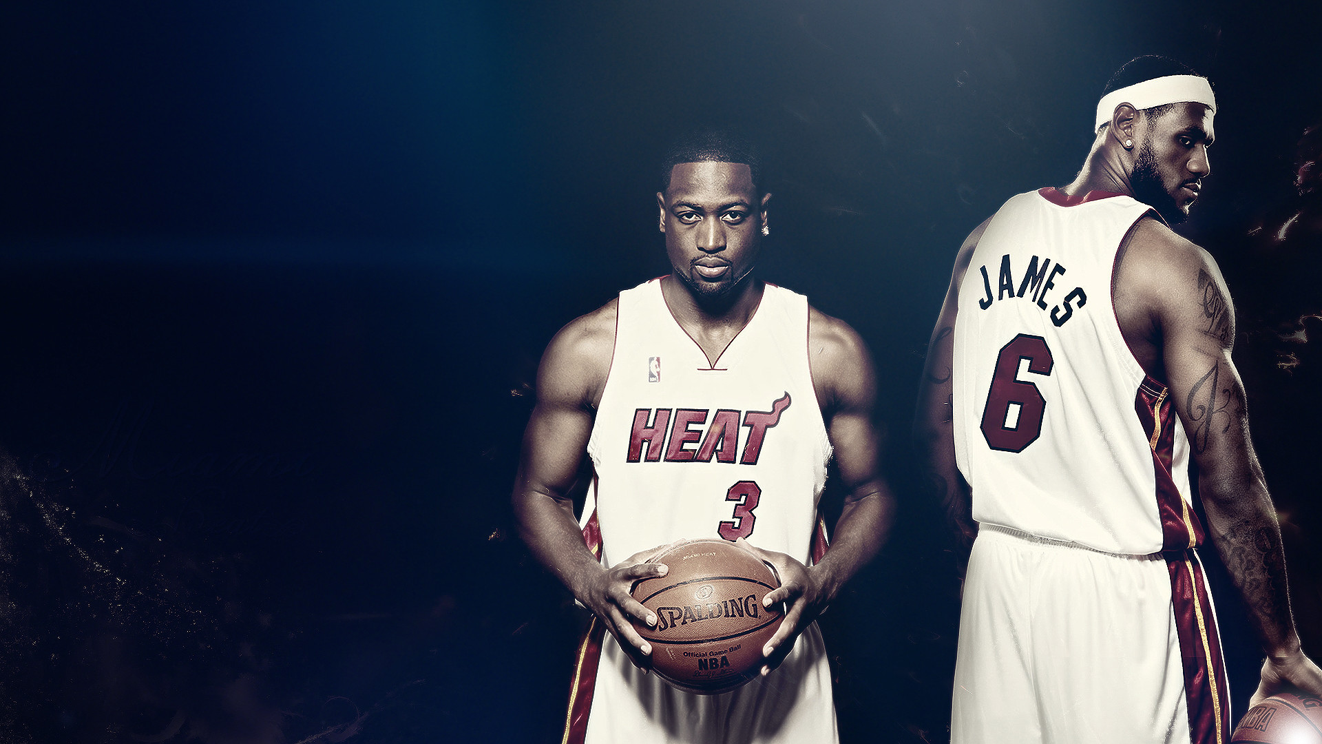 1920x1080  Wallpaper lebron james, dwyane wade, basketball, nba, heat,  spalding,