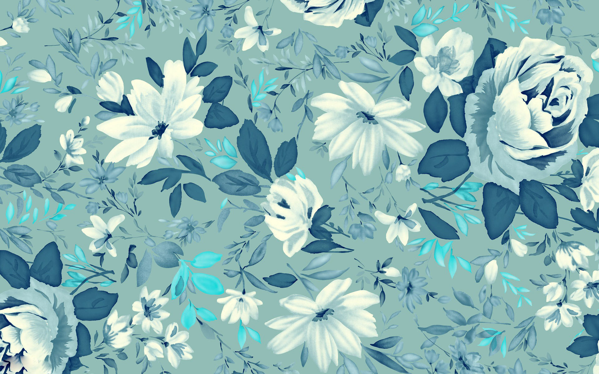 1920x1200 vintage wallpaper floral blue. Â«Â«