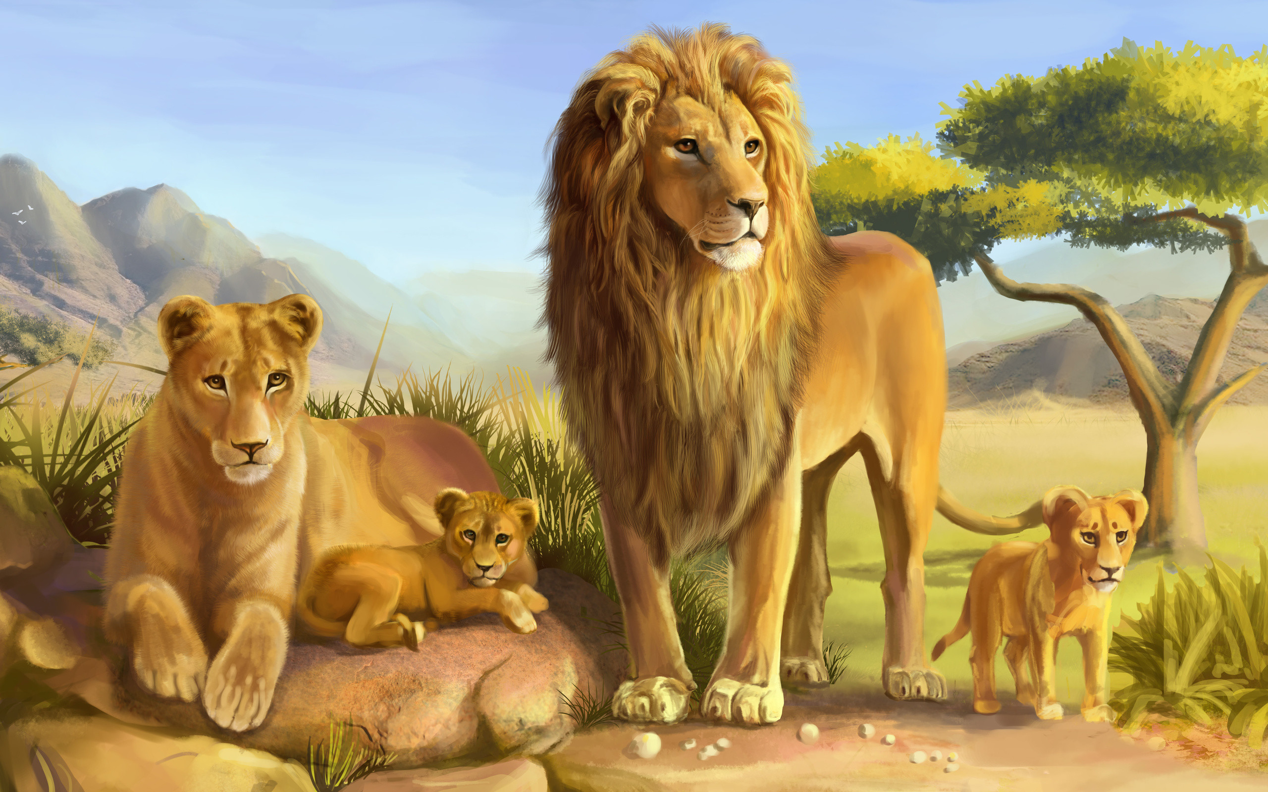 2560x1600 Modern Art HD prints oil painting on canvas African Lion Family