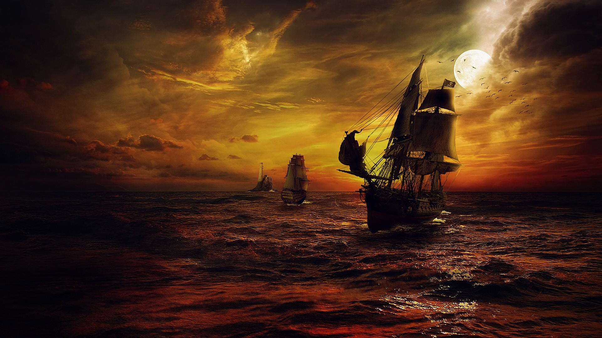 1920x1080 Pirate Ship Night Sailing.