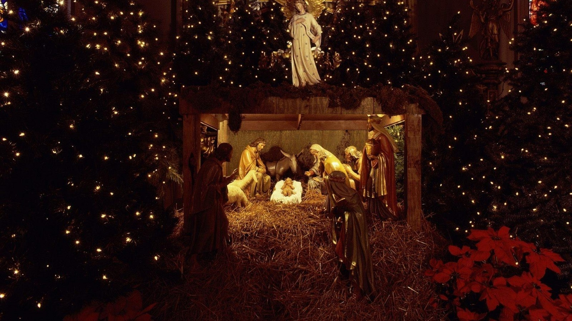 1920x1080 Preview wallpaper christmas, jesus, nurseries, christmas trees, garland,  holiday, people