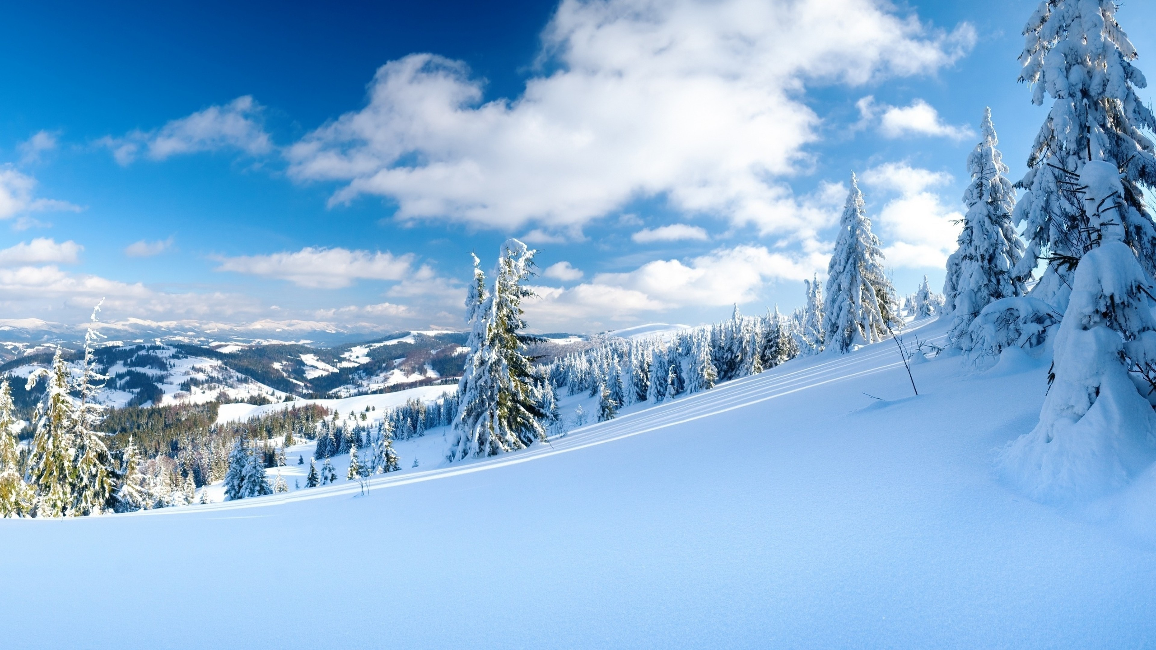 3840x2160  Wallpaper snow, slope, winter, mountains, resort, mountain-skiing,