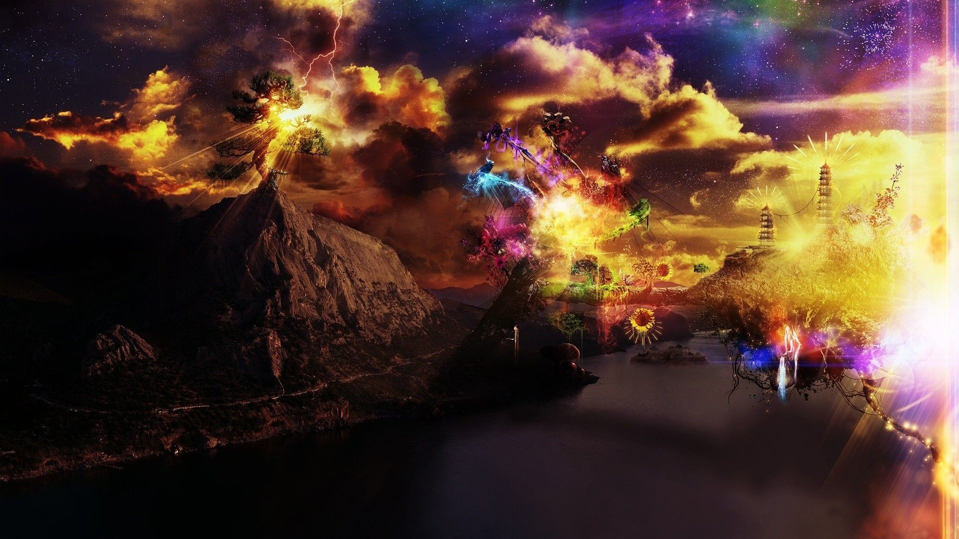1920x1080 Multi-Color Fantasy Fireworks HD Wallpaper. « »