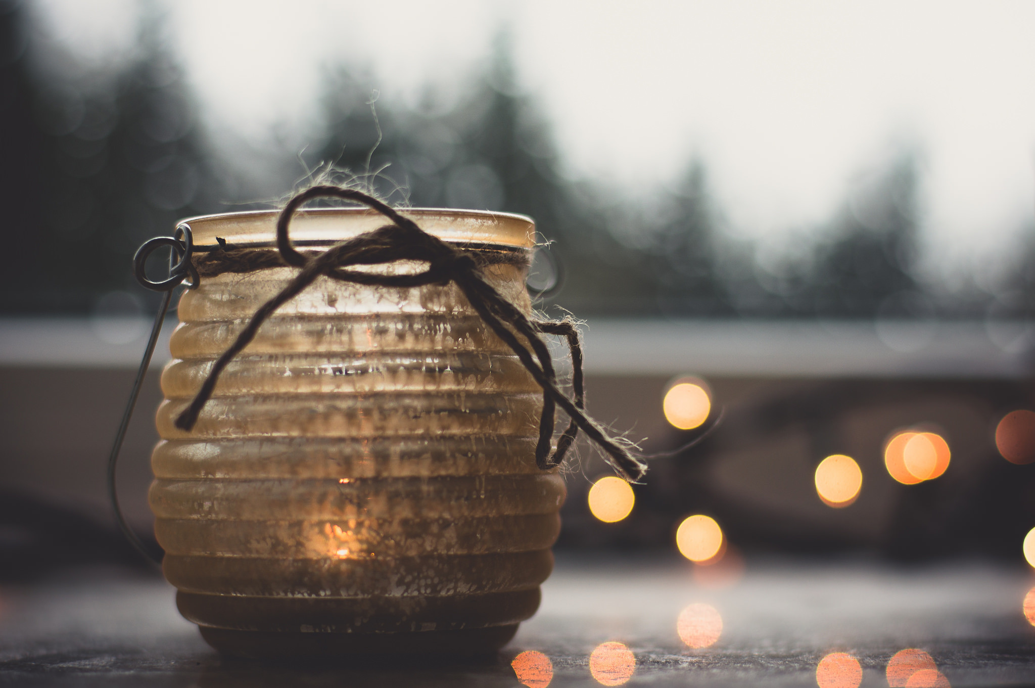 2048x1361 Winter moments wallpaper winter candle jar bokeh lights cozy warm