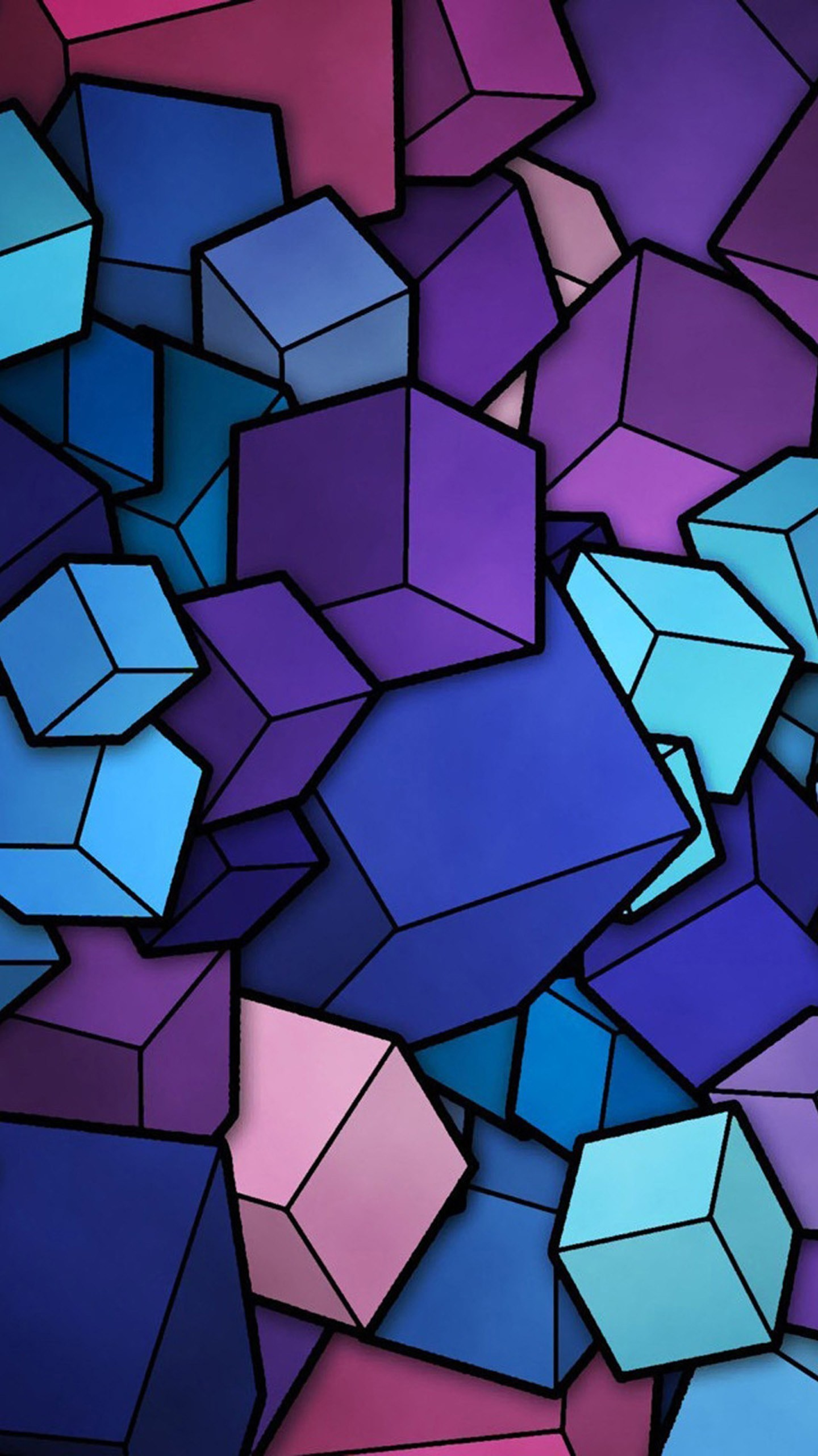 1440x2560 Abstract Cubes Blue Purple Wallpaper Galaxy S6, LG G4, HTC One M9