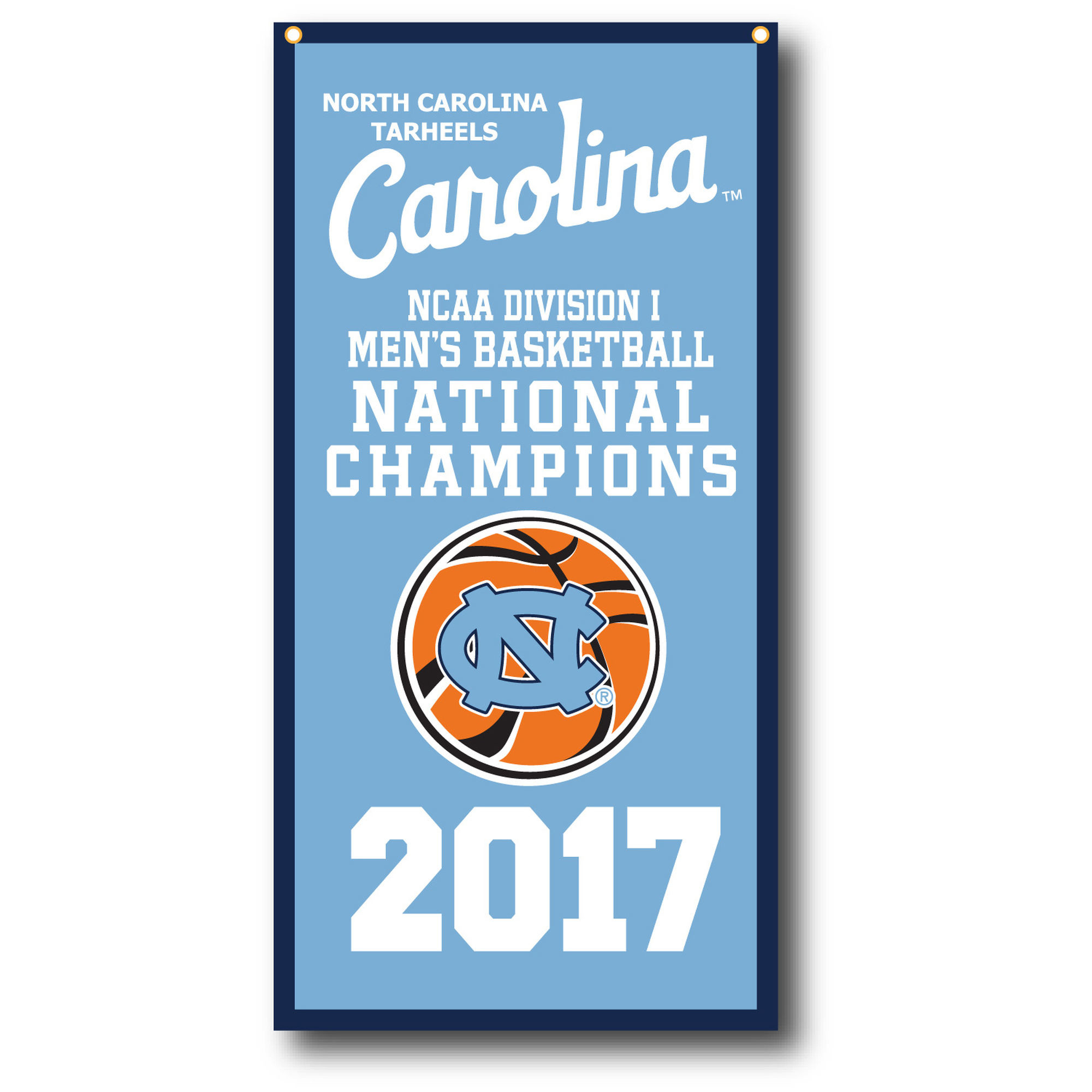 "2000x2000 North Carolina Tar Heels 2017 NCAA Men's Basketball National Champions 18""  x 36"" Vertical"