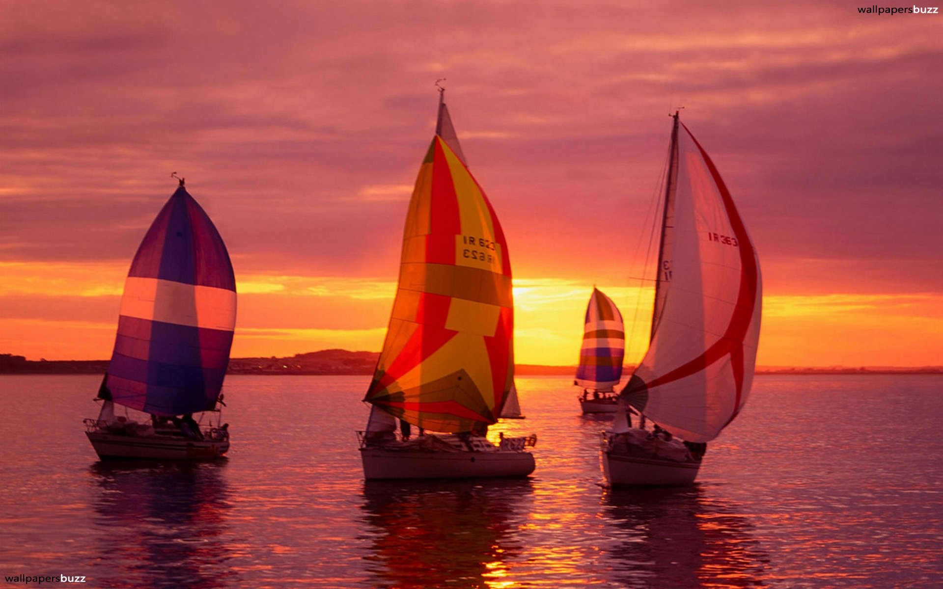 1920x1200 Four sailing-ships while the Pirate Ship Wallpaper Sunset