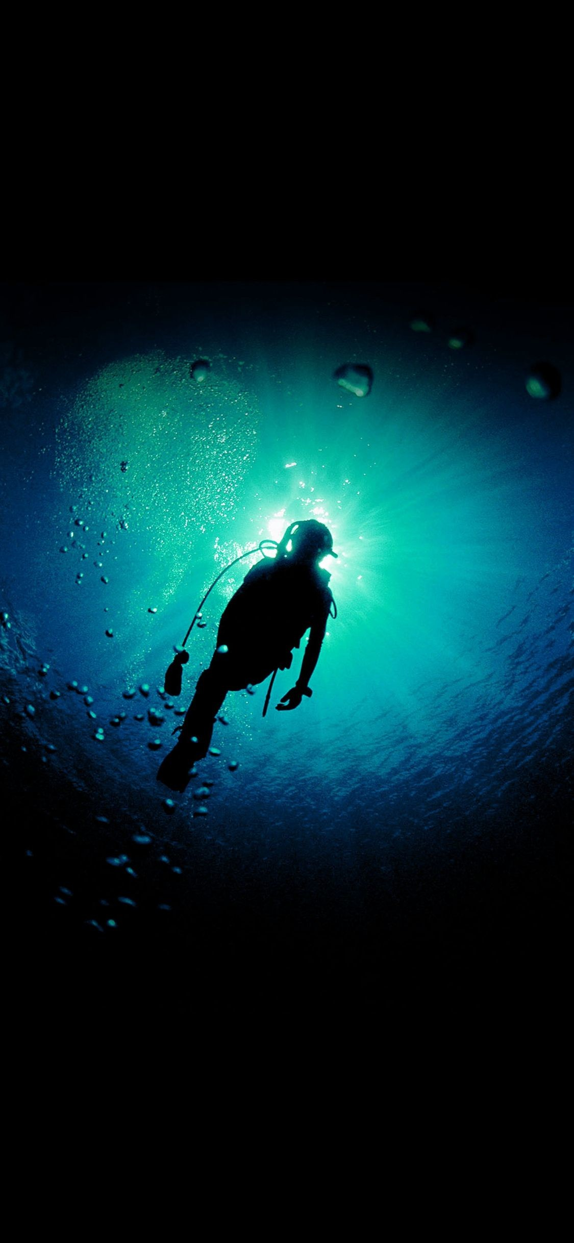 1125x2436 Deep Blue Green Ocean Dive #iPhone #X #wallpaper