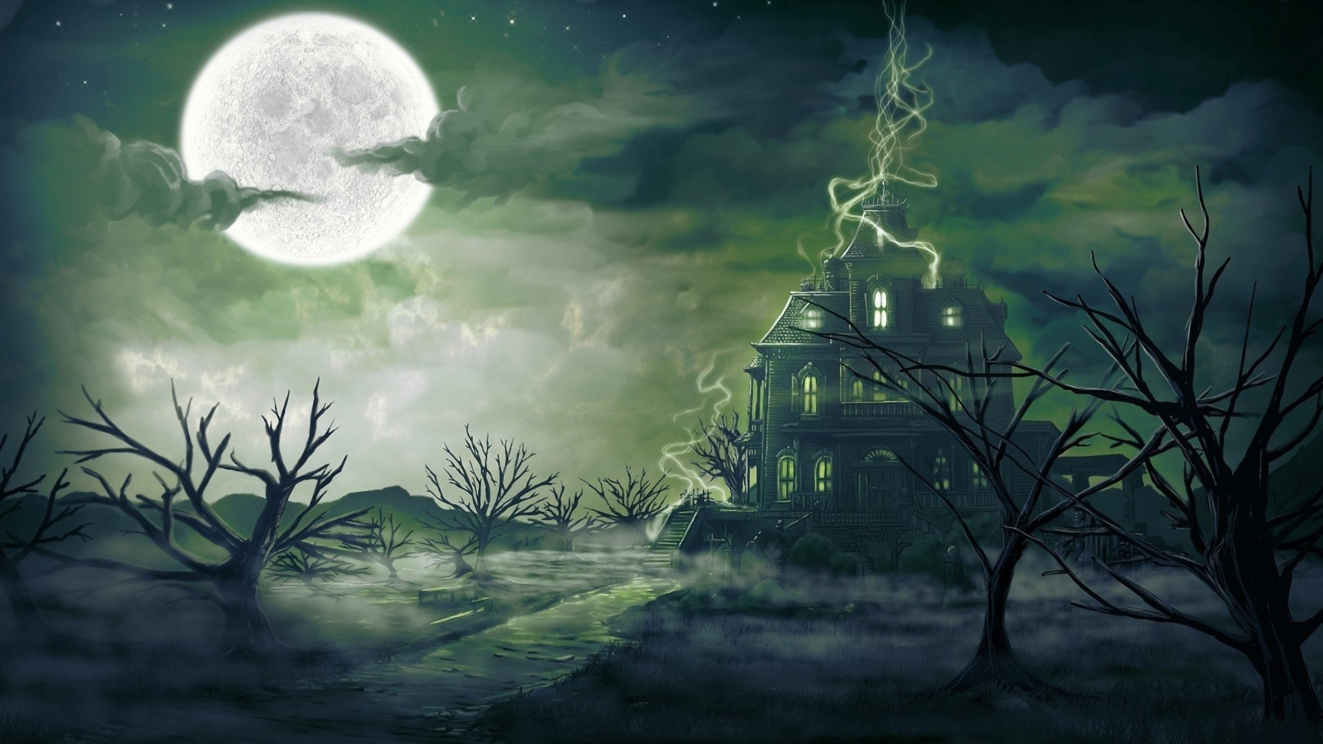 1920x1080 clouds, Trees, Stars, Moon, Haunted, House Wallpapers HD / Desktop and  Mobile Backgrounds