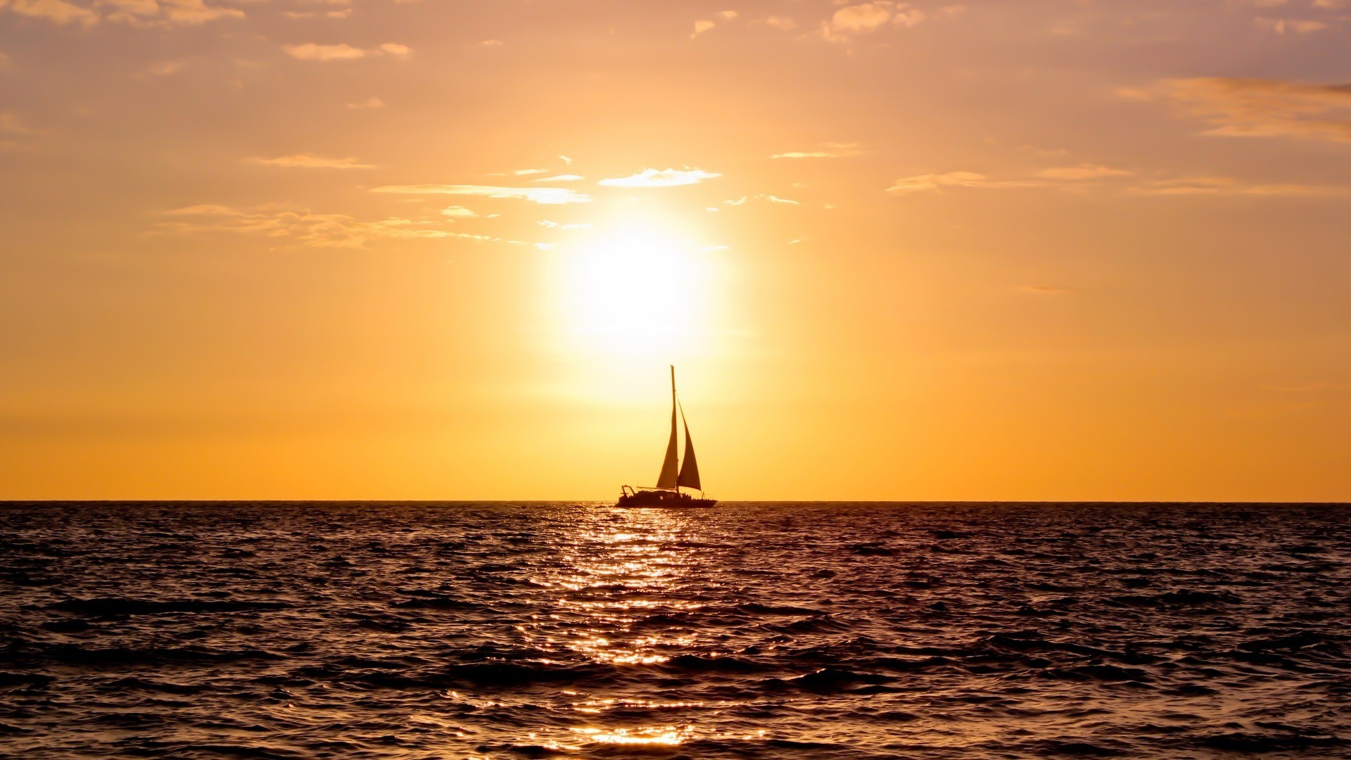 1920x1080 Approaches Golden Summer Sea Sailboat Sailing Sunset Ocean Creatures  Wallpaper