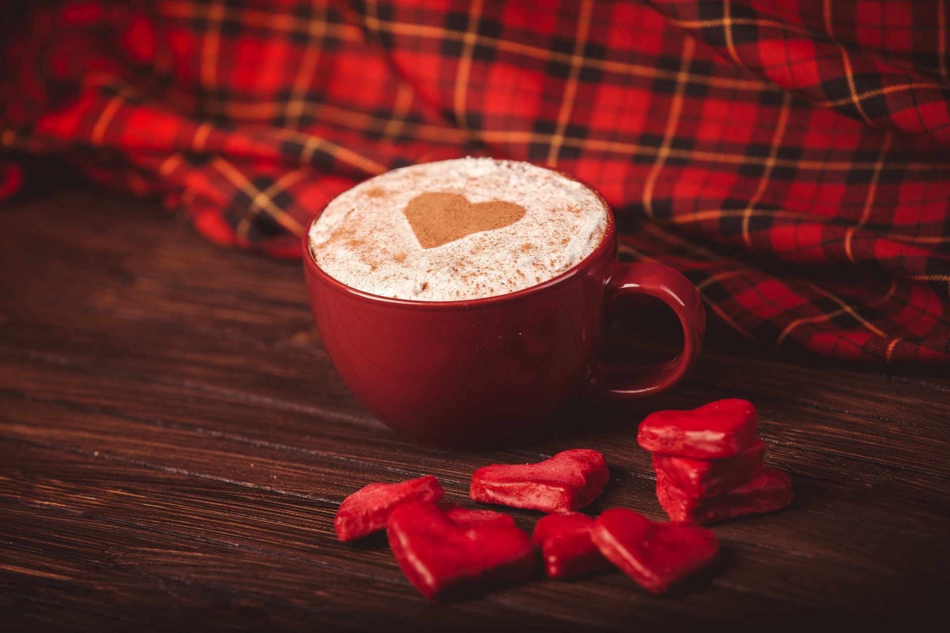 1920x1280 candy heart heart red cappuccino coffee cup red napkin