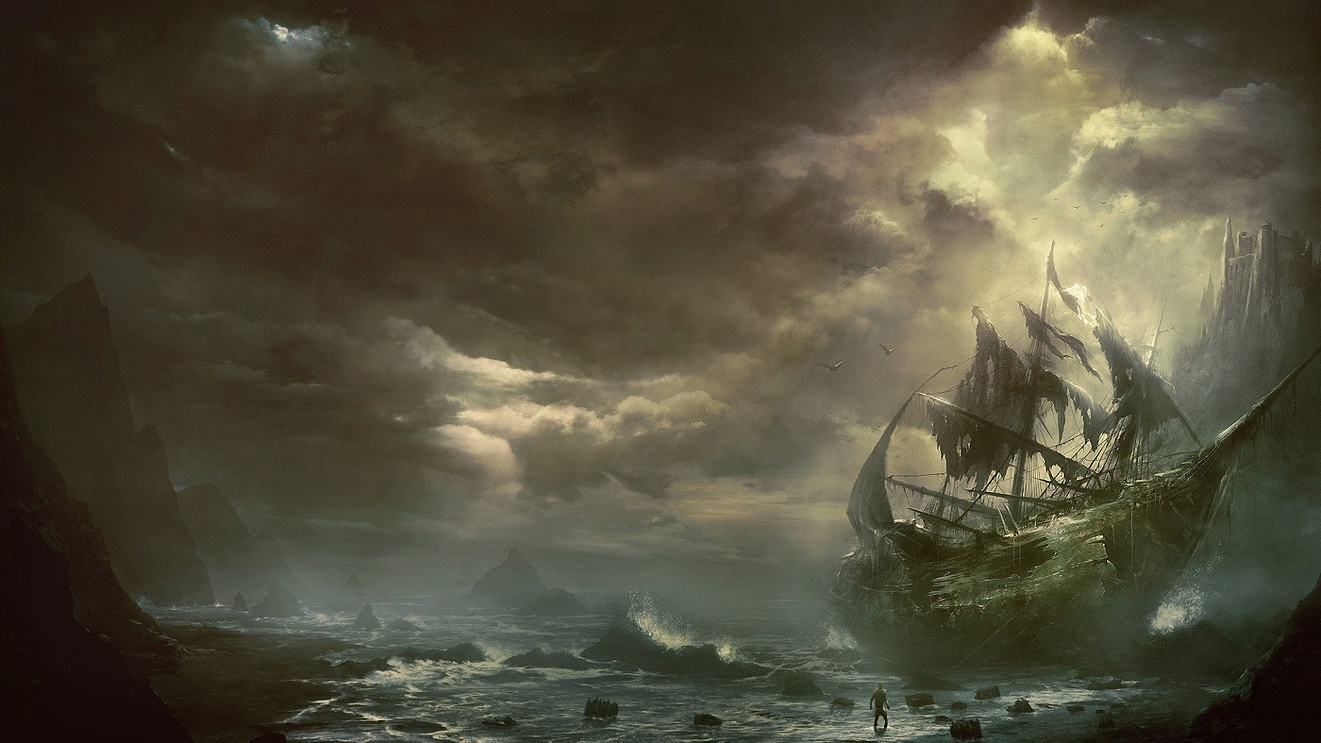 1920x1080 Preview wallpaper mountains, clouds, sea, ship, sailboat, destroyed