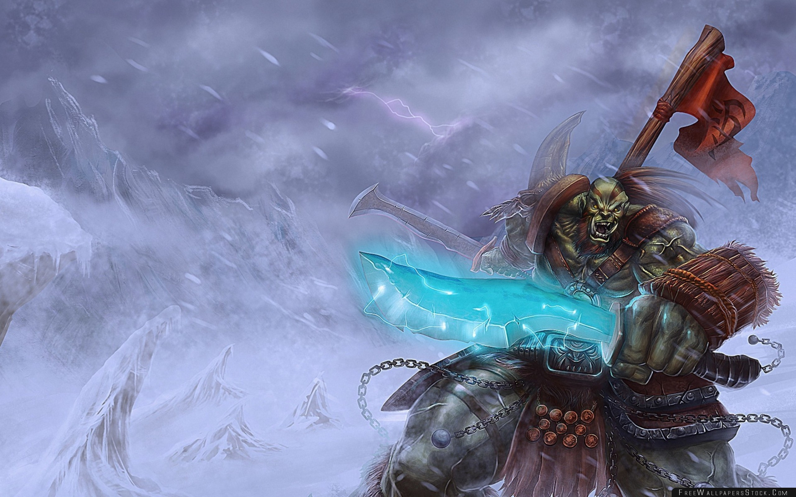 2560x1600 Download Free Wallpaper World Warcraft Orc Banner Snow Sword