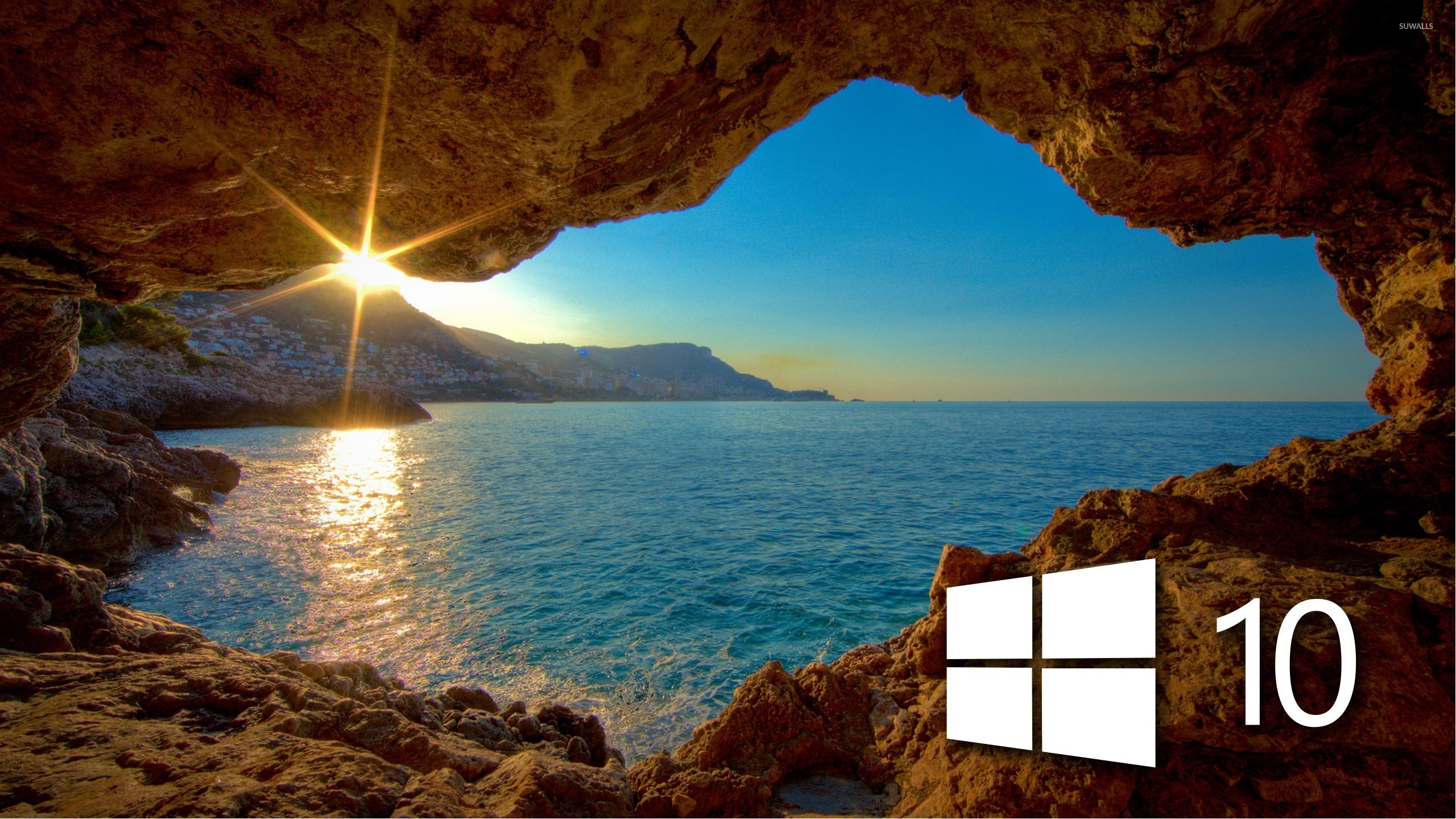 2560x1440 Windows 10 over the cave simple logo wallpaper