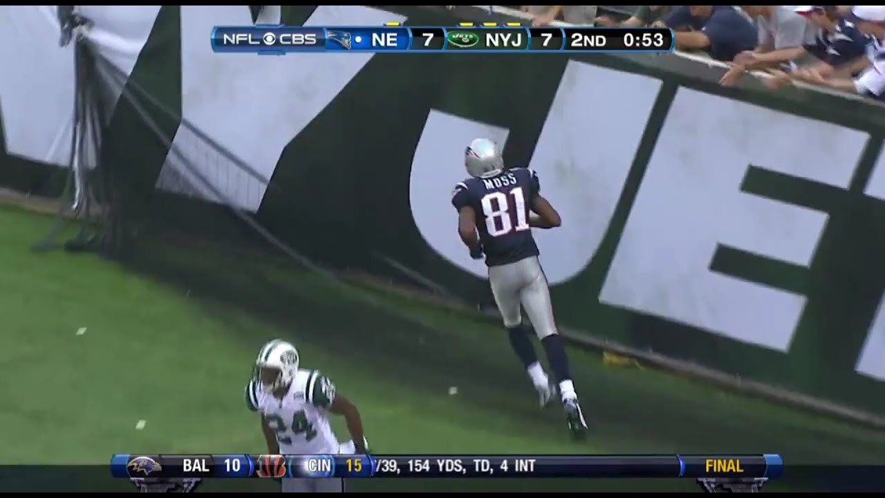 1920x1080 Randy Moss makes a one handed touchdown catch on Revis Island (2010) -  YouTube