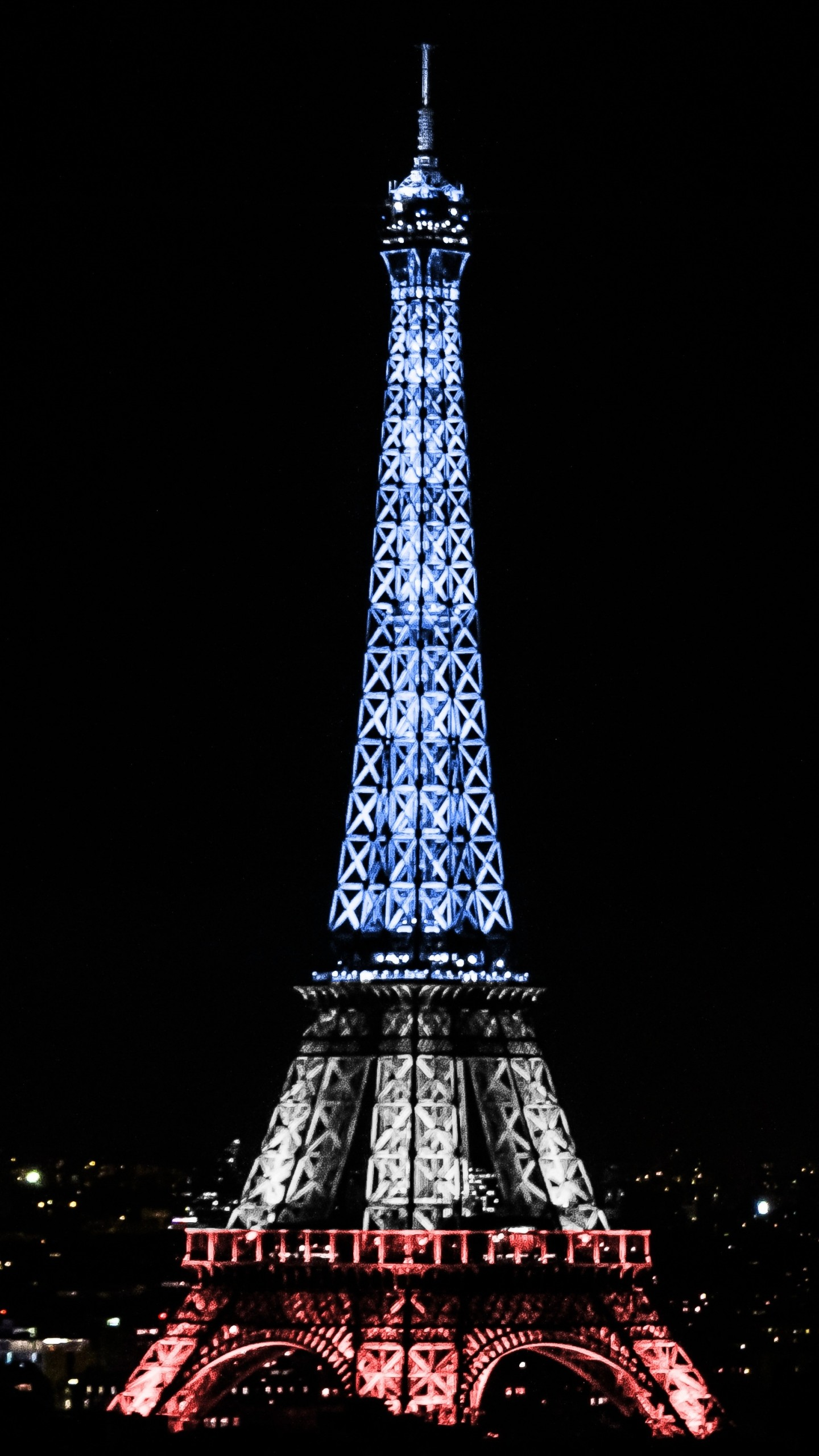 1440x2560 Preview wallpaper eiffel tower, paris, france, night