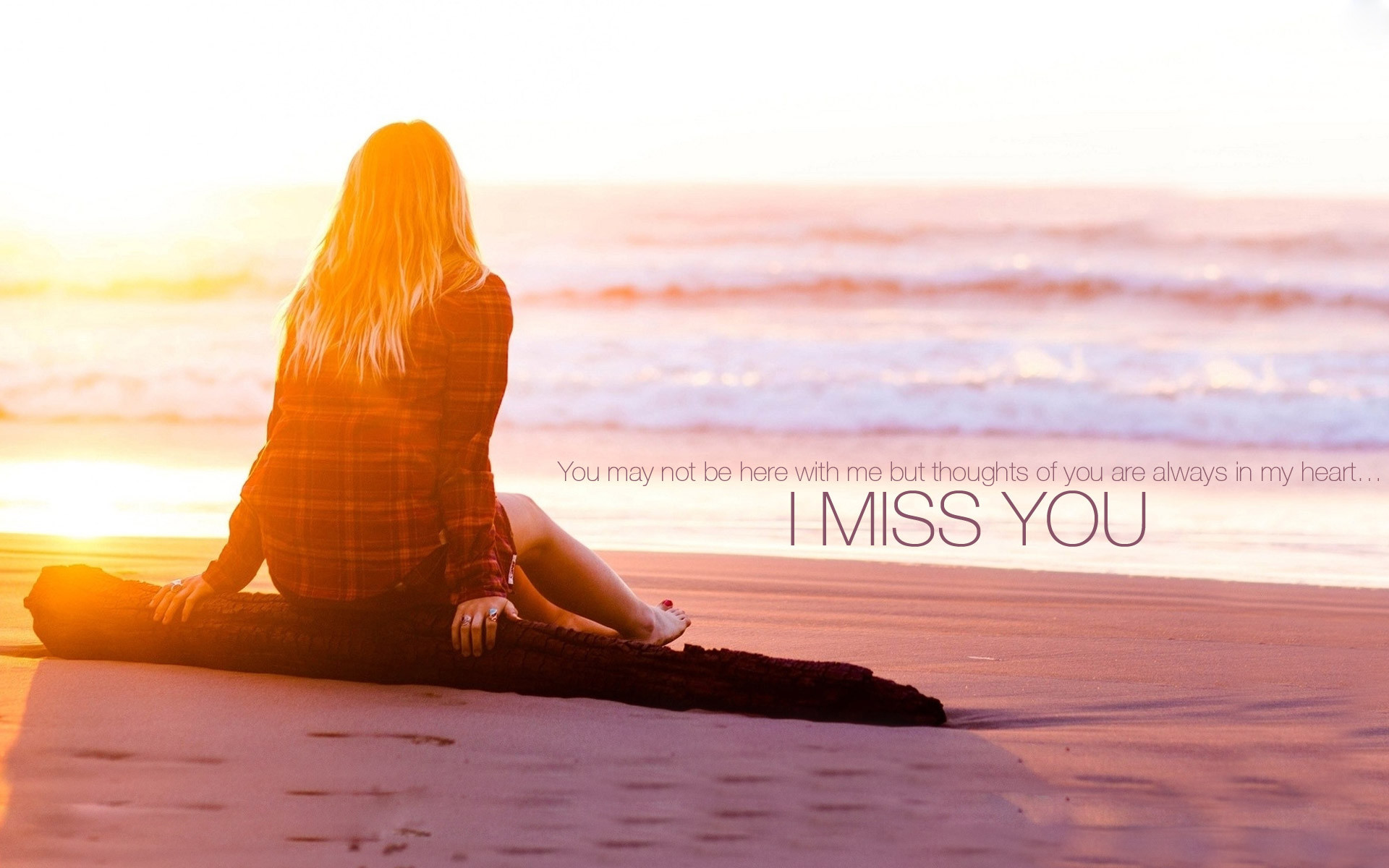 1920x1200 I Miss You Quote, Girl at Se