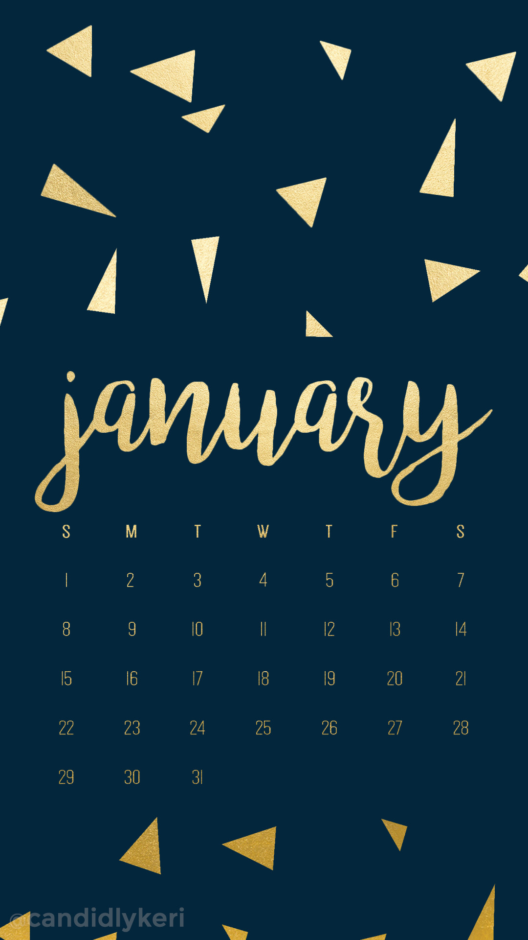 1080x1920 Navy and gold foil triangles January calendar 2017 wallpaper you can  download for free on the