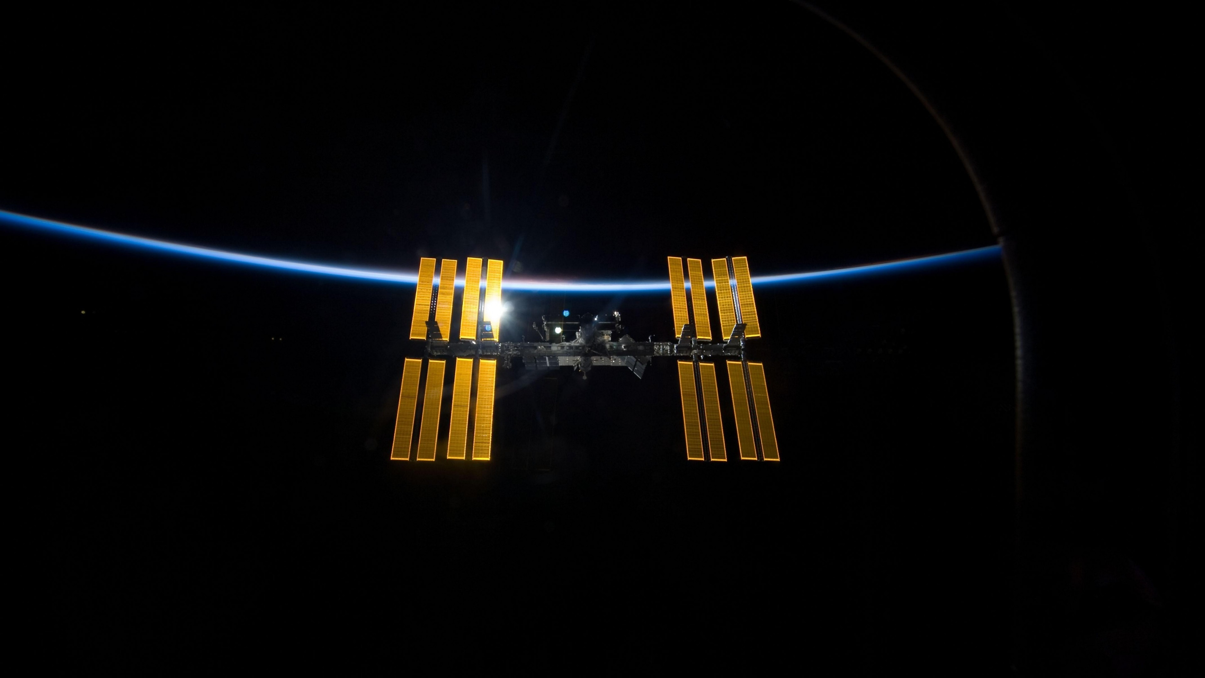 3840x2160  Wallpaper space, station iss, world, laboratory, light