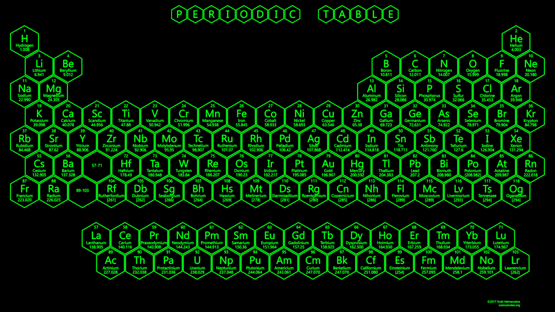 1920x1080 Green Neon Honeycomb Periodic Table