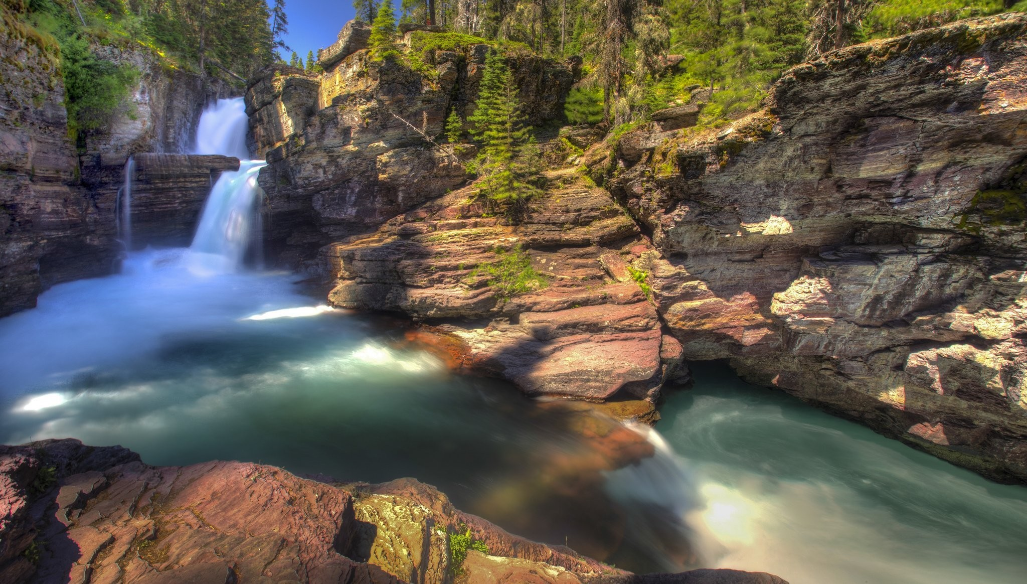 2048x1164 st mary falls glacier national park montana waterfall park forest