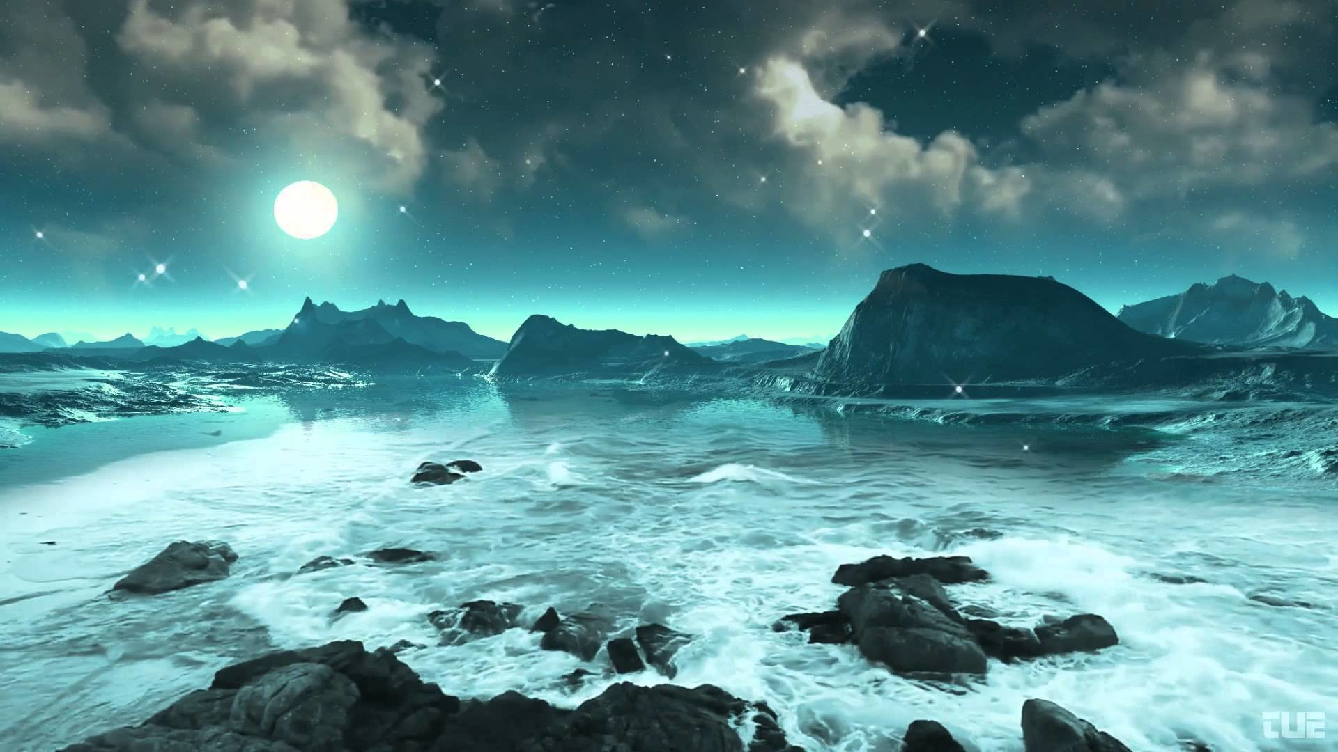 1920x1080 Moonlight, Stars And Ocean Waves 2 - Video Background HD 1080p - YouTube