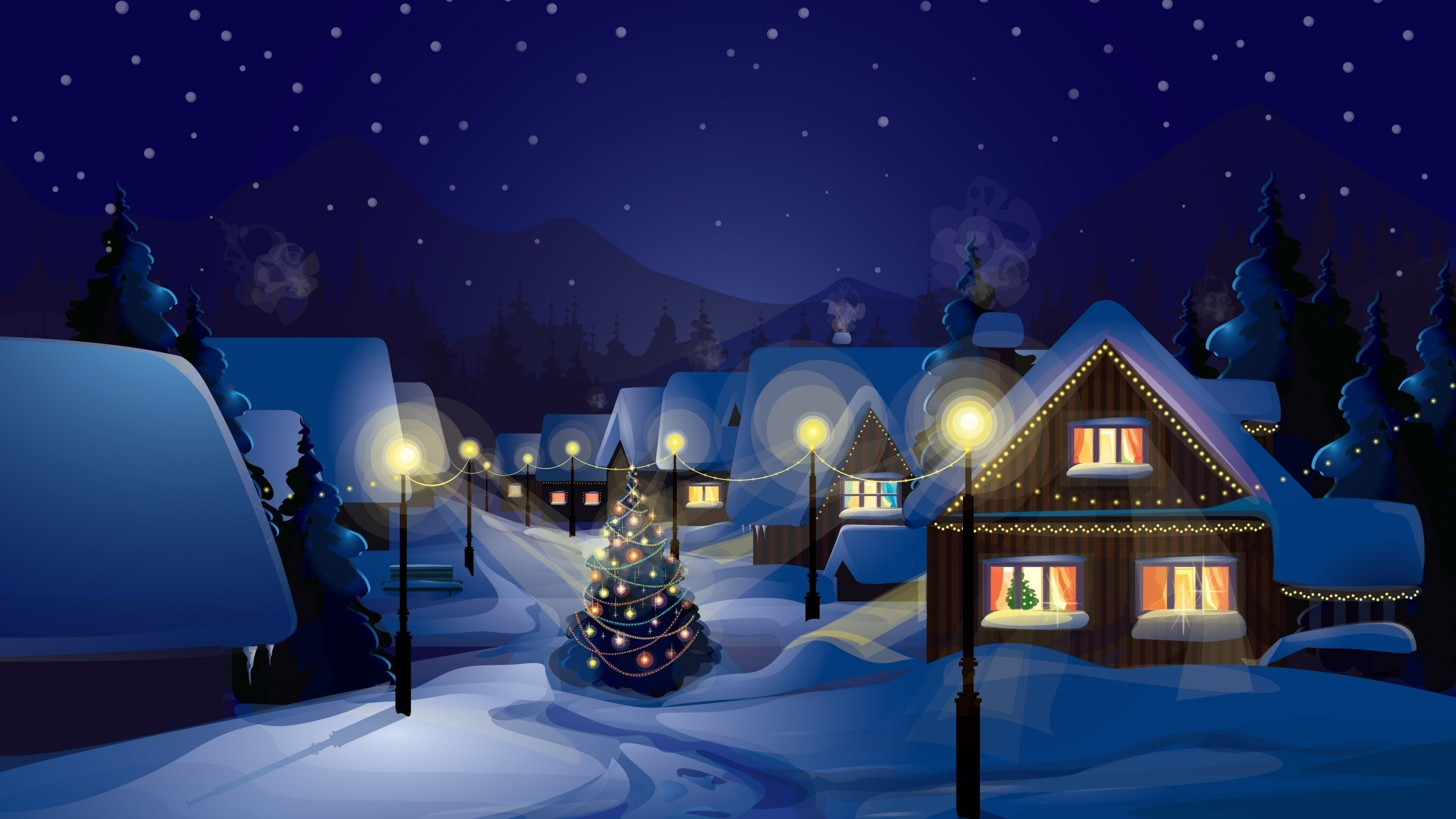 2560x1440 Christmas, Village, Christmas Tree, Snow Wallpapers HD / Desktop and Mobile  Backgrounds
