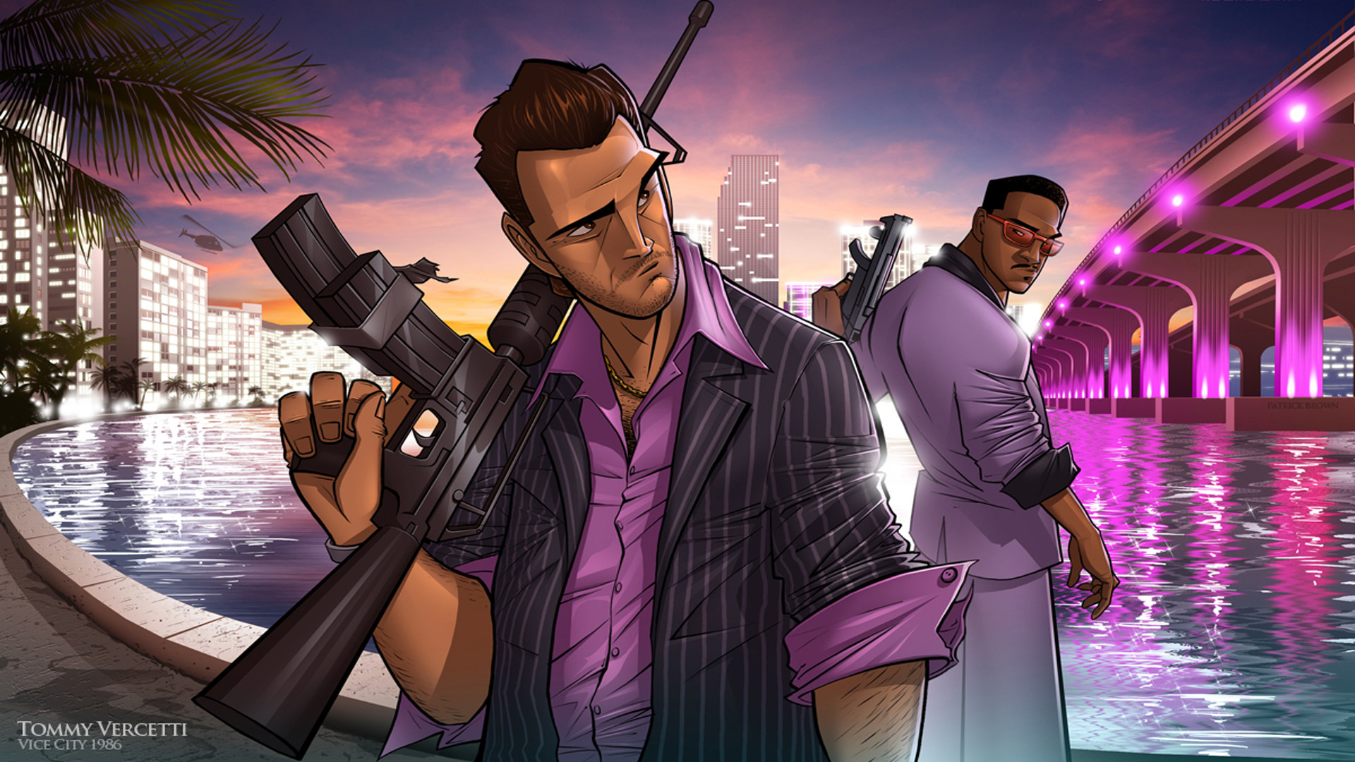 1920x1080 Preview wallpaper tommy vercetti, grand theft auto, vice city, gta, patrick  brown
