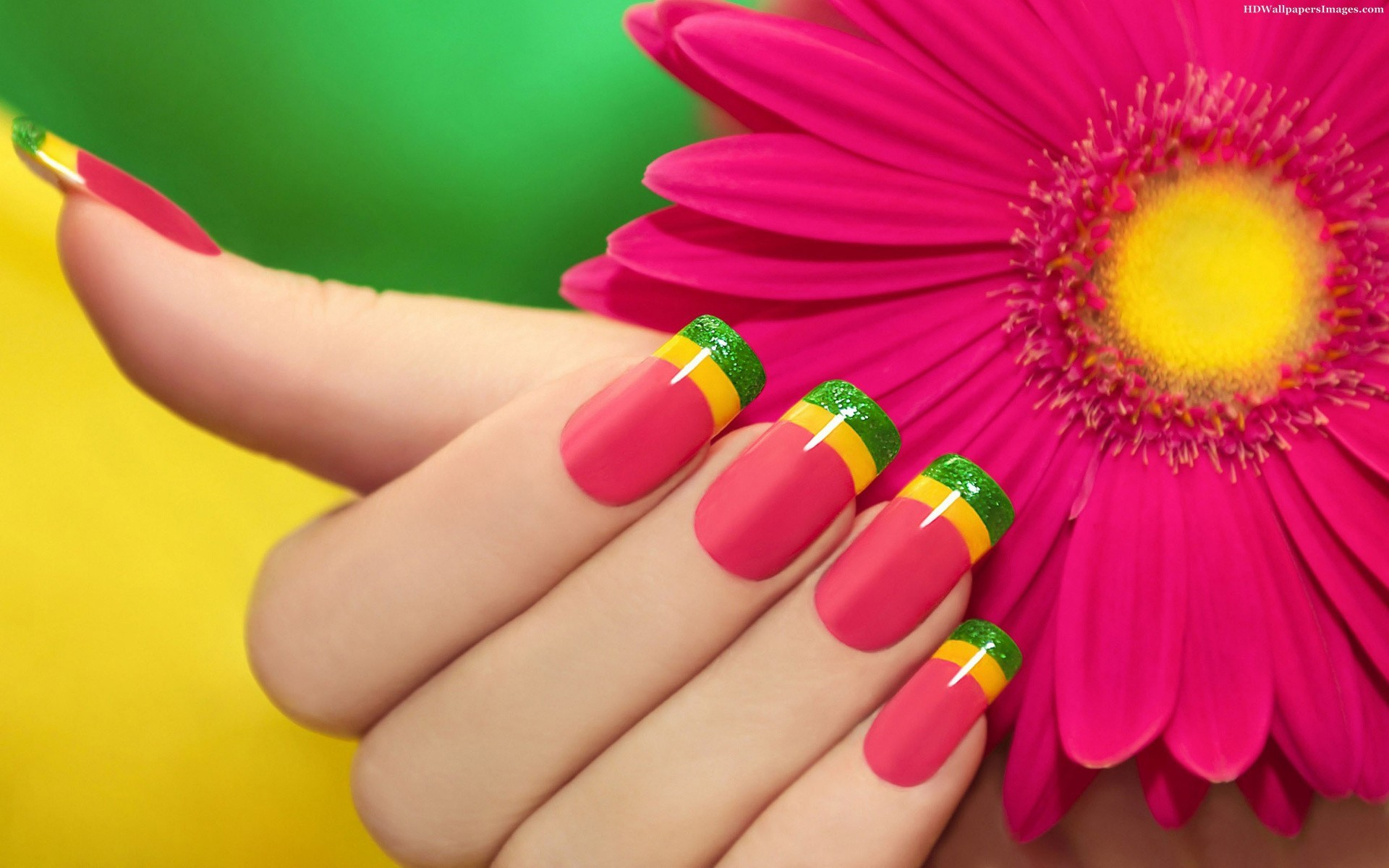 1920x1200 Erbera Flower With Girl Hand Nail Polish Images