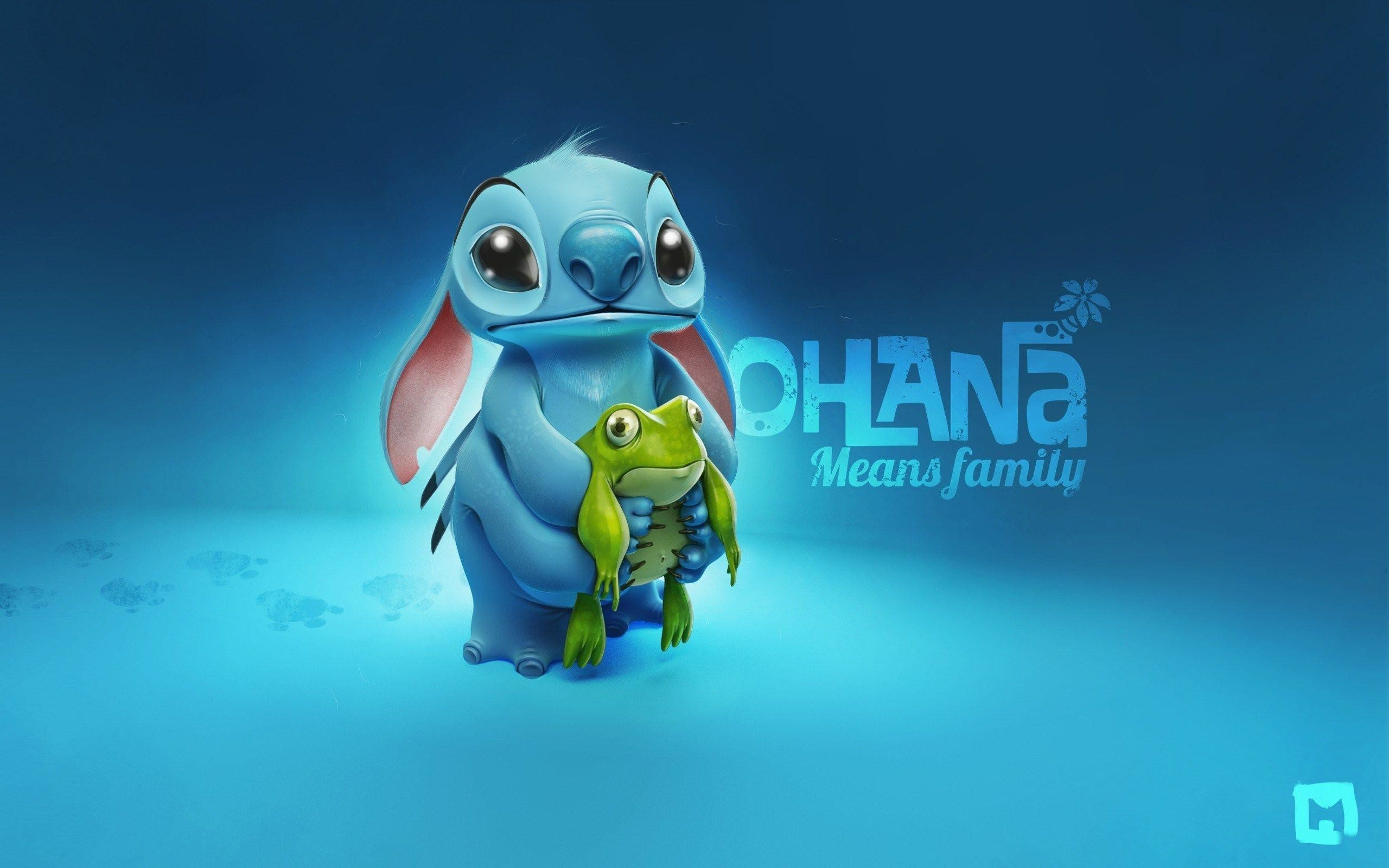 2560x1600 Blue Background Stitch and Frog Cartoon HD Wallpaper - ZoomWalls