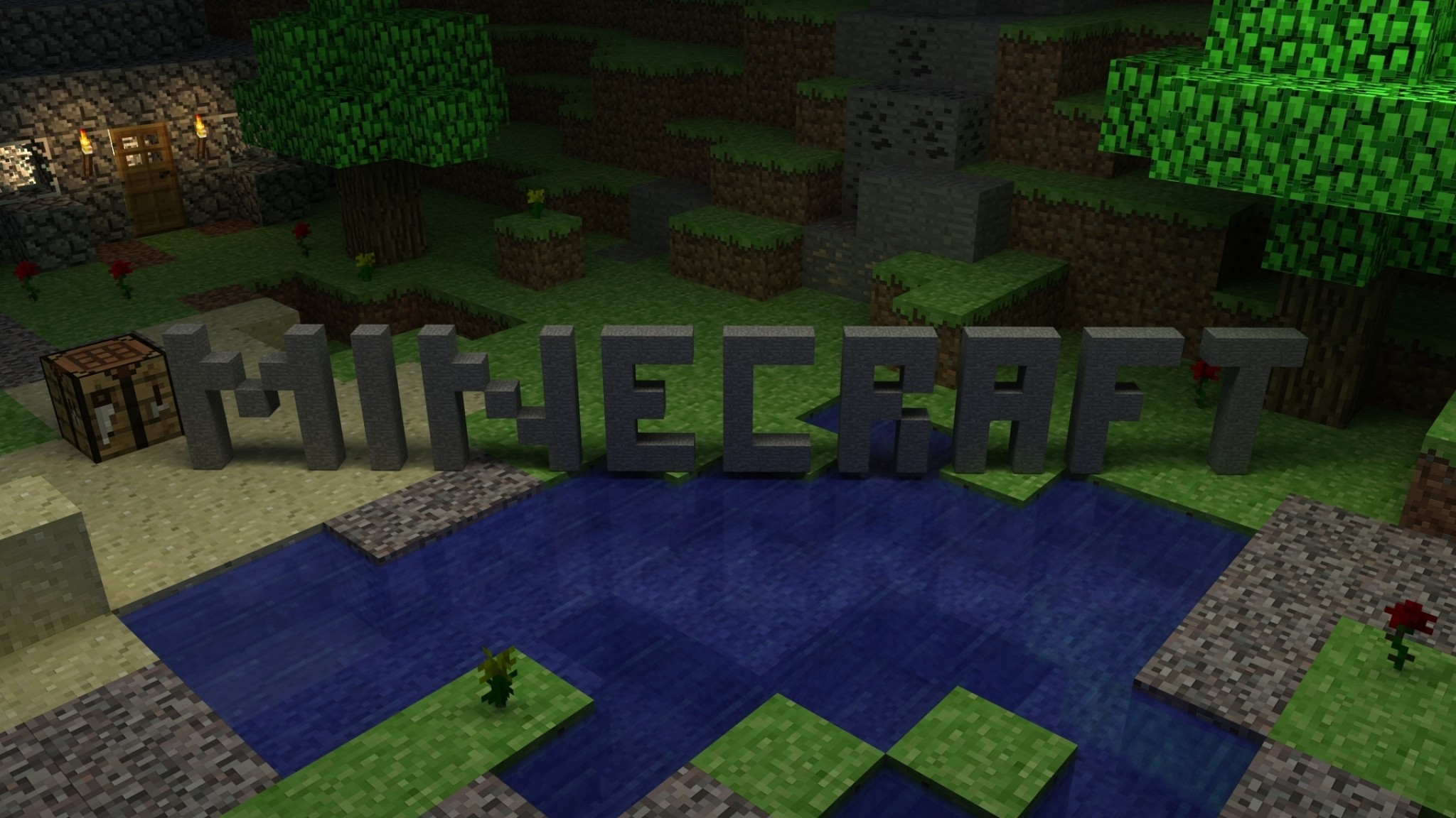 2048x1152 Preview wallpaper minecraft, house, logo, cubes, resources