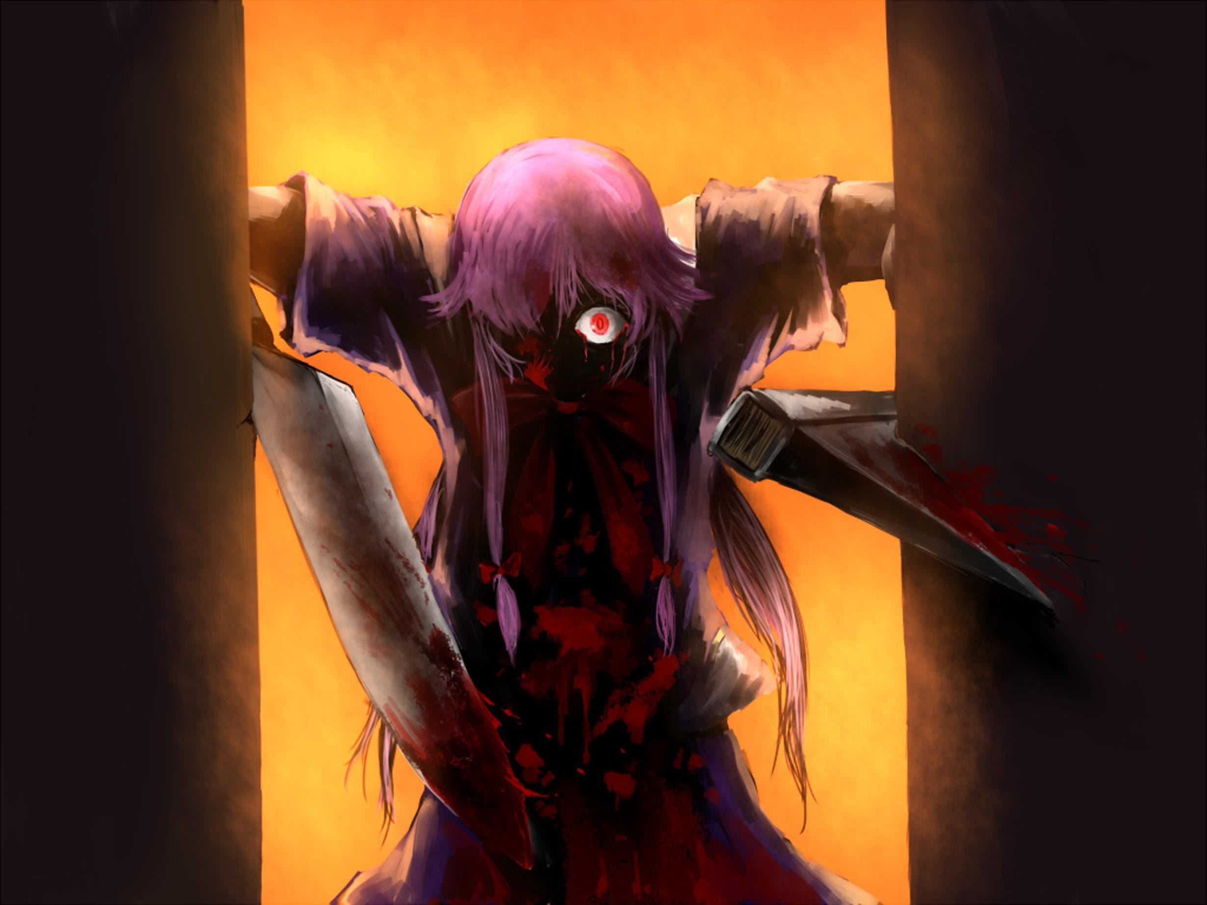 2460x1845 #Scream, #Gasai Yuno, #blood, #Mirai Nikki, #yandere, #axes, wallpaper