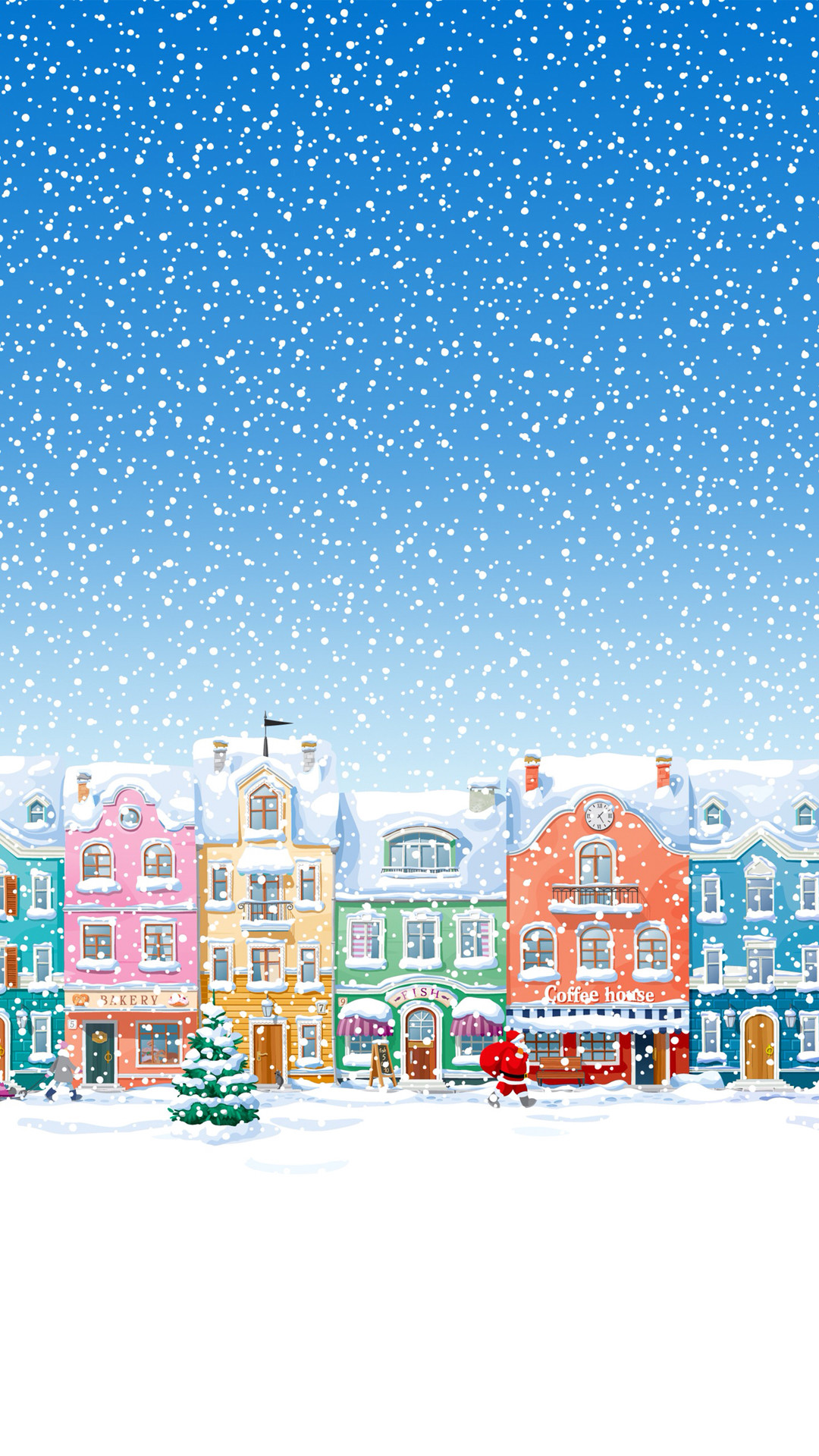 1080x1920 Snowy Town Santa Claus Delivering Christmas Presents iPhone 6 wallpaper
