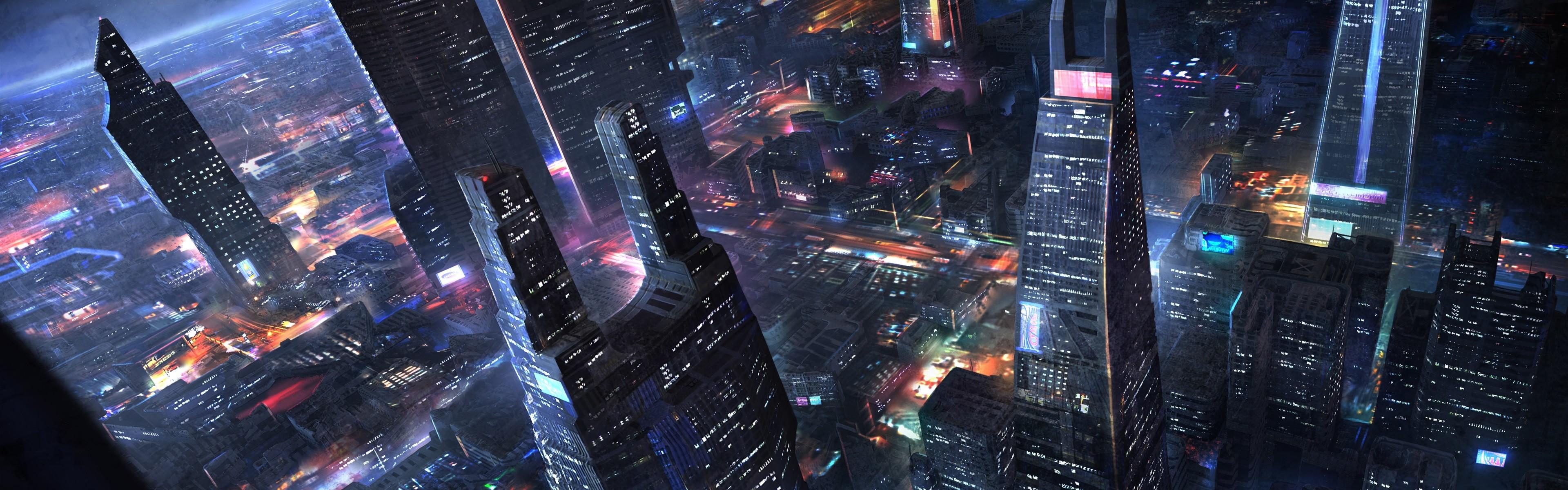 Futuristic city wallpaper night