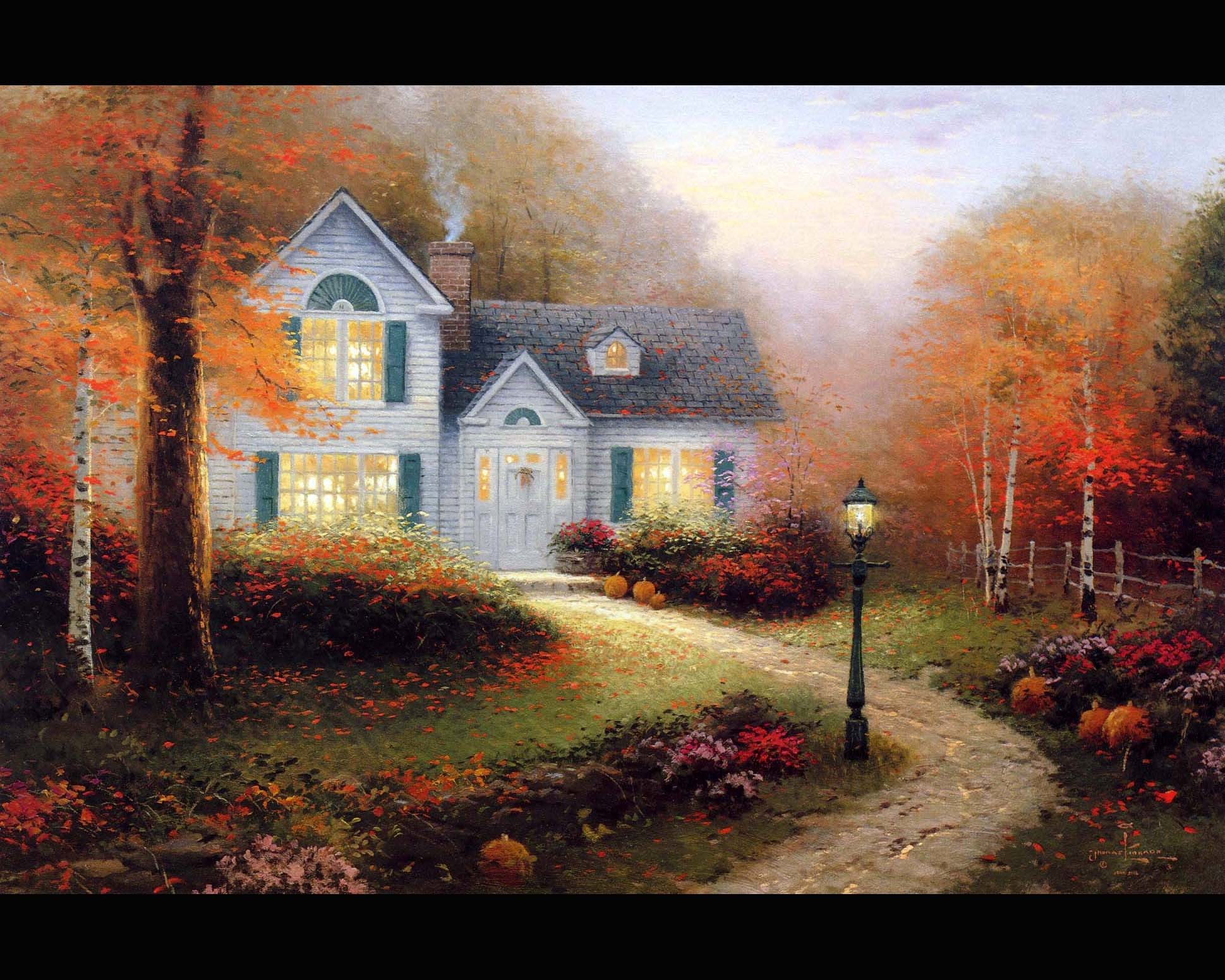 1939x1551 Picture Pictorial art Thomas Kinkade the blessings of autumn