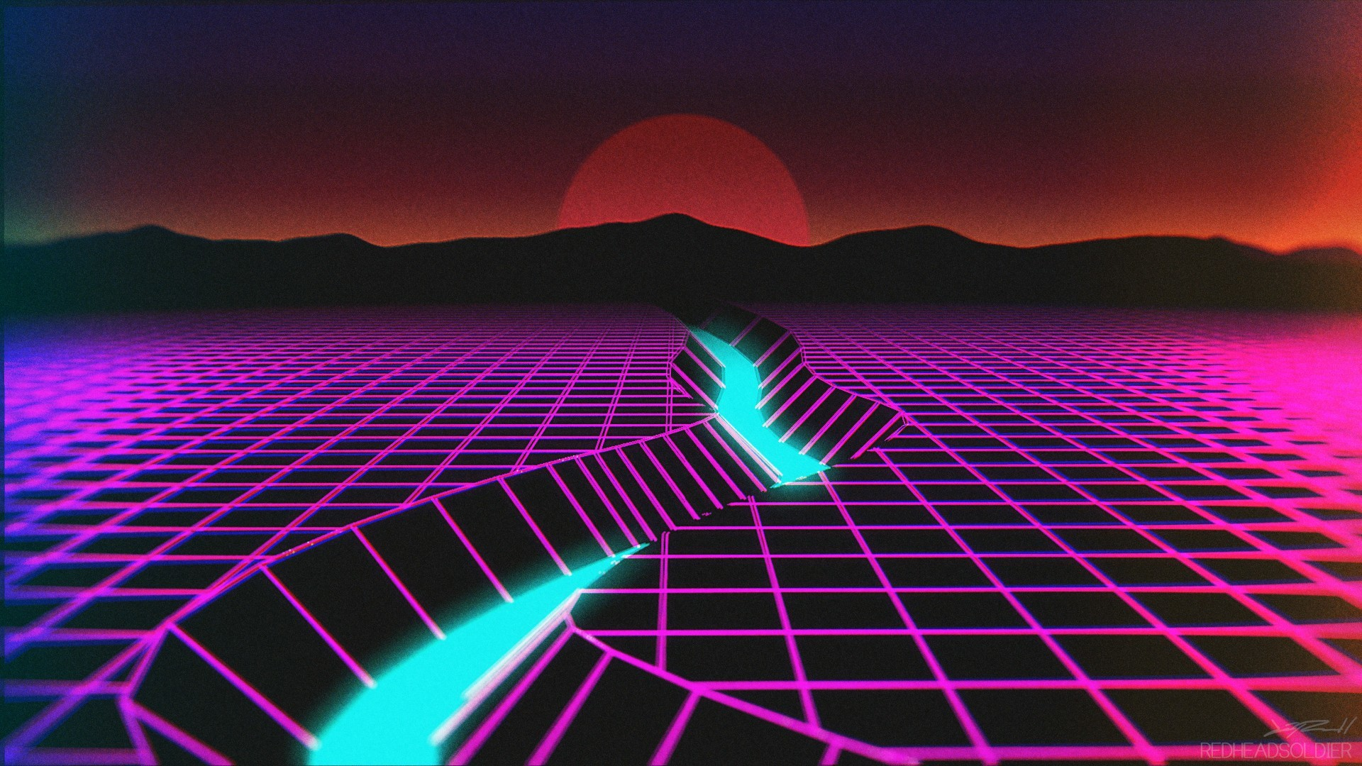 1920x1080 General  New Retro Wave neon synthwave wireframe