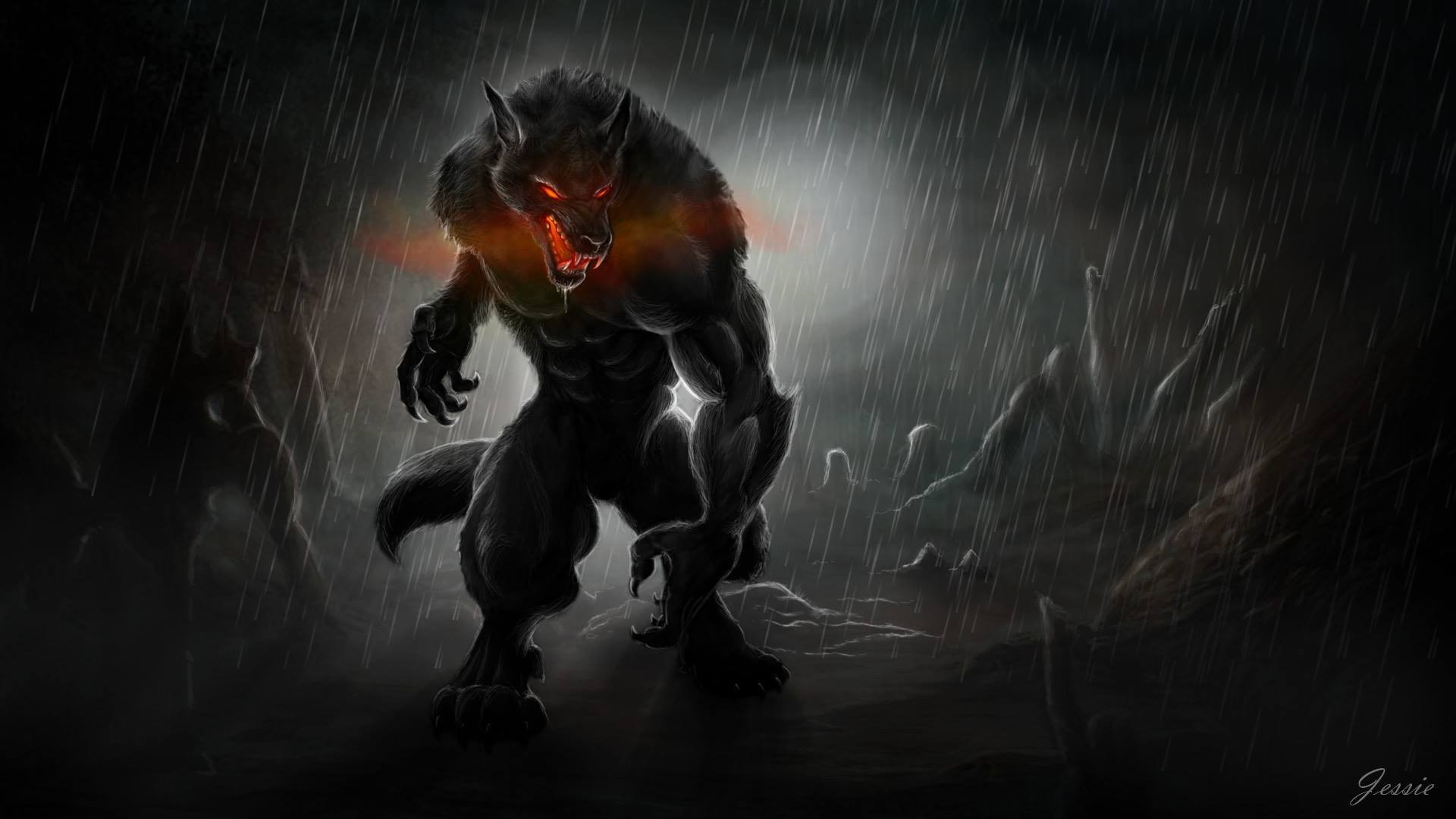 1920x1080 werewolves, Dark, Creature, Fantasy art Wallpapers HD / Desktop and Mobile  Backgrounds