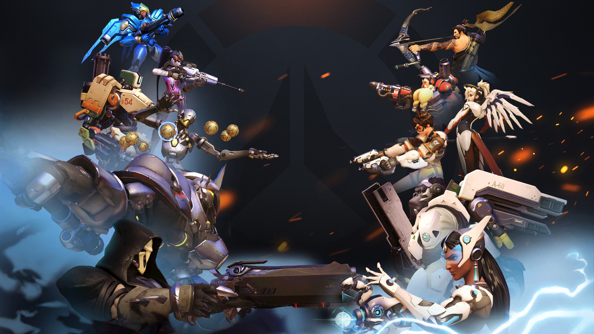 1920x1080 General  Blizzard Entertainment Overwatch Tracer (Overwatch)  Zenyatta (Overwatch) Tekhartha Zenyatta Pharah