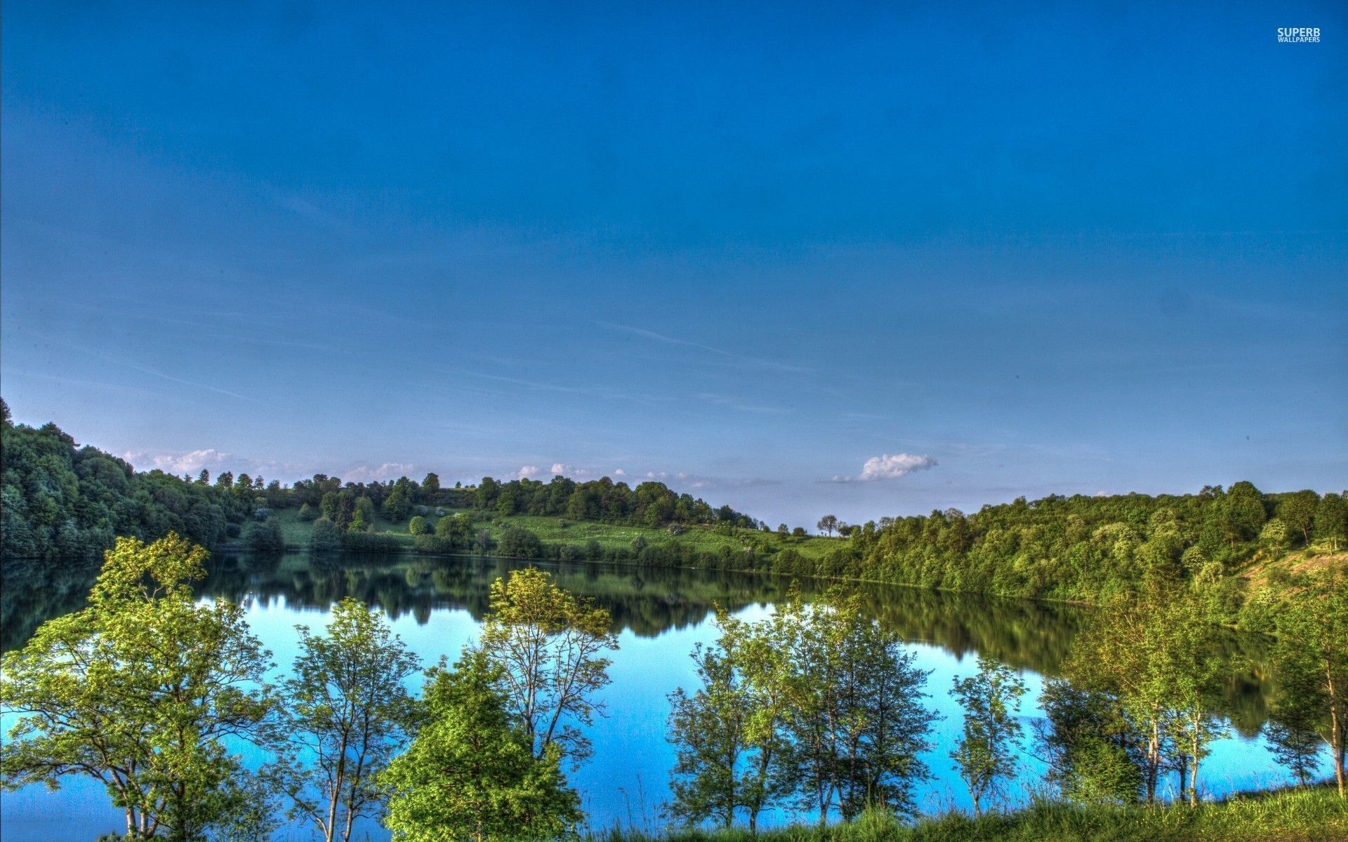 1920x1200 Pretty Blue Lake Green Trees wallpapers and stock photos