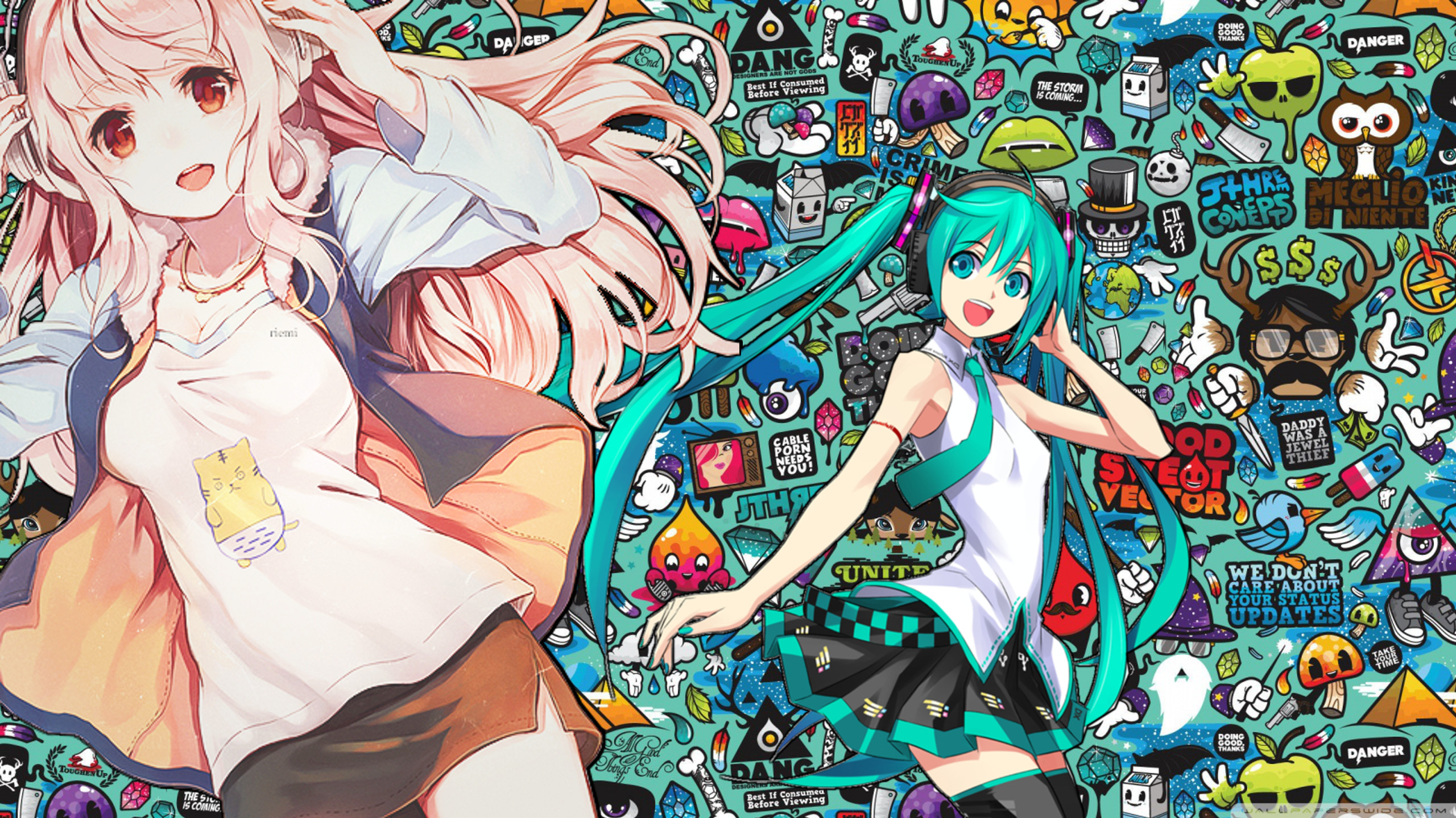 2560x1440 ... Hatsune Miku and Super Sonico Wallpaper by zsuetam2000