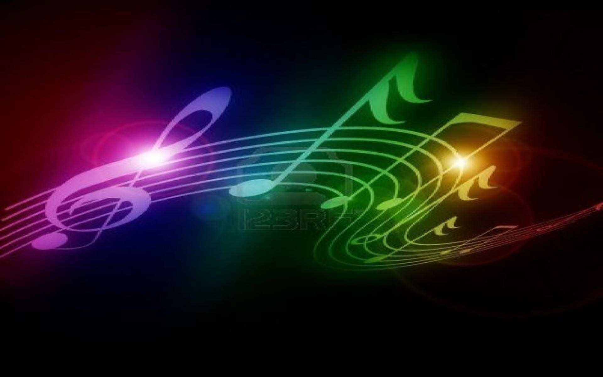 1920x1200 Neon Music Notes Wallpaper ( px)