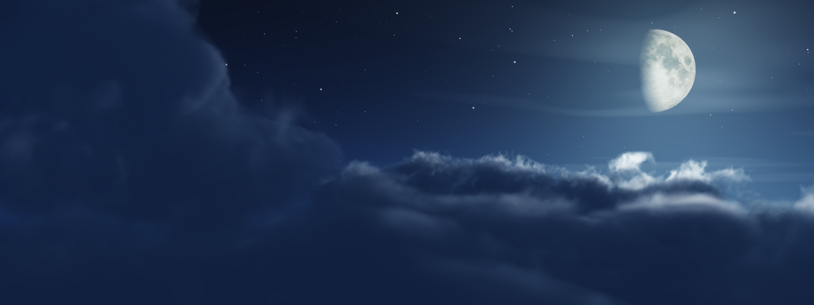 3200x1200 Multi Monitor Dual Screen night moon clouds stars wallpaper |  |  35036 | WallpaperUP